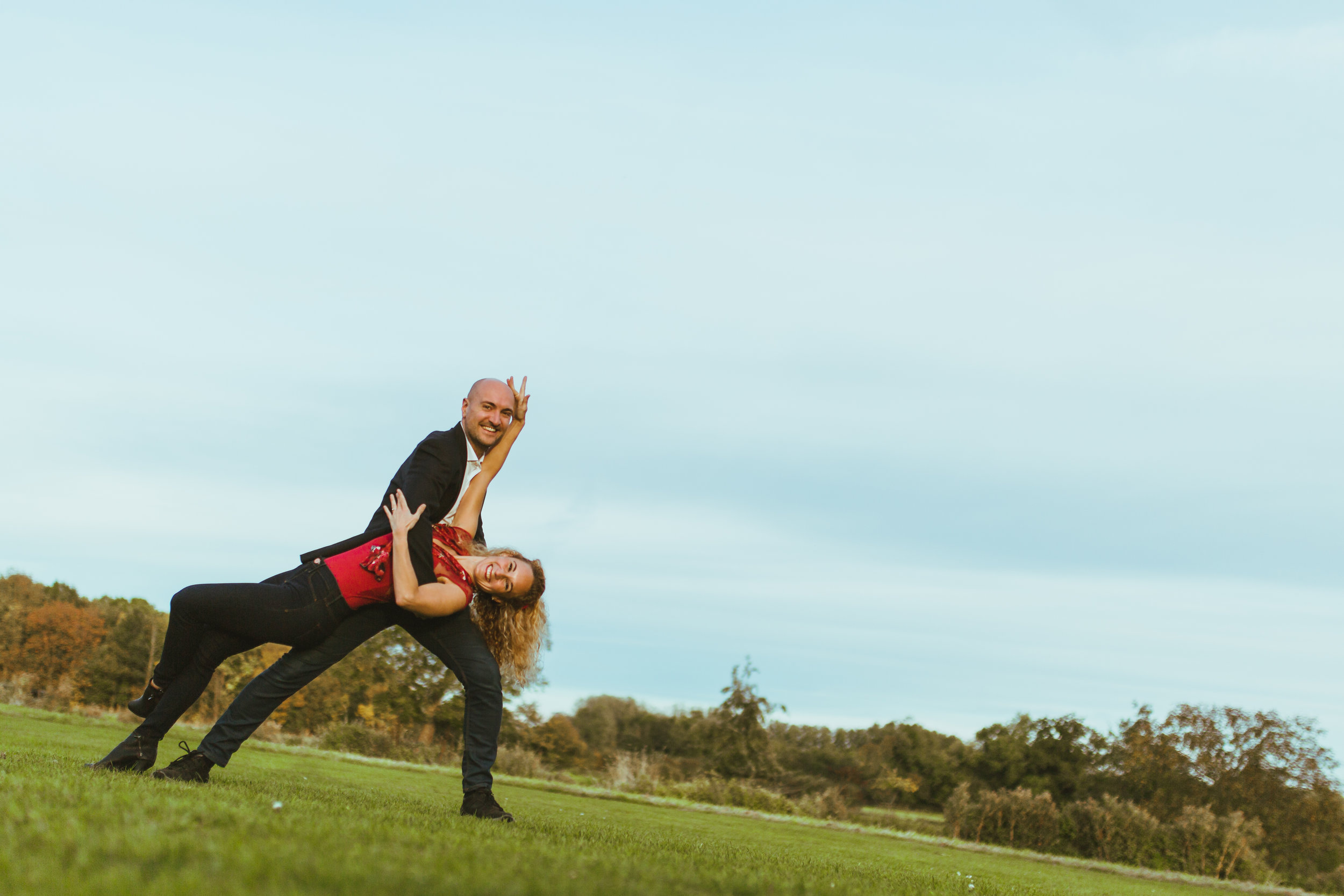 When you do a pre-wedding shoot and find that your couple are pro level dancers…….yeah…..this was a lot of fun! Shot at  Grantchester Meadows  in Cambridge