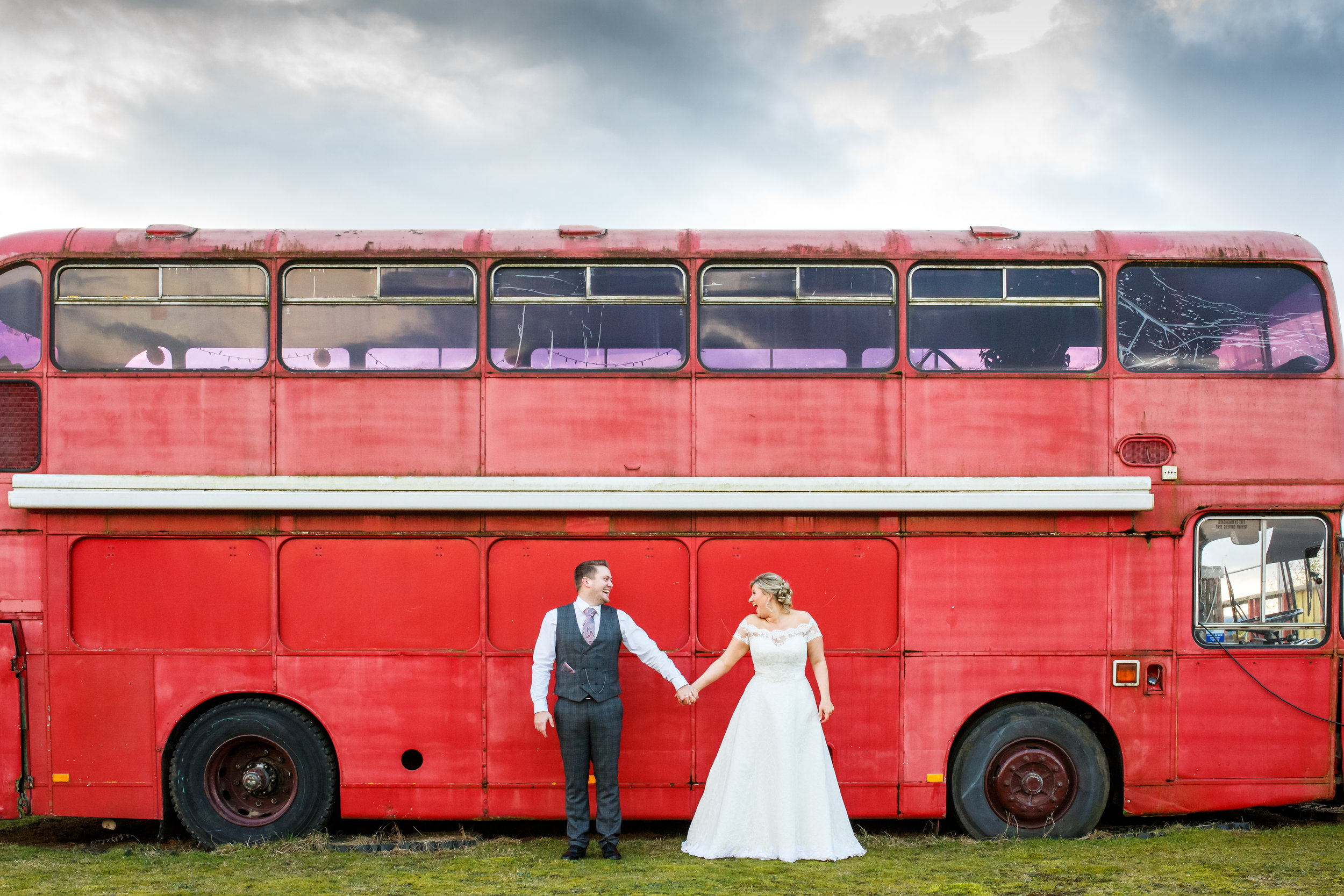 Fun wedding with double decker bus