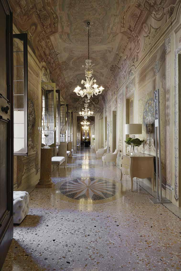 the corridors ornamented with original frescoes