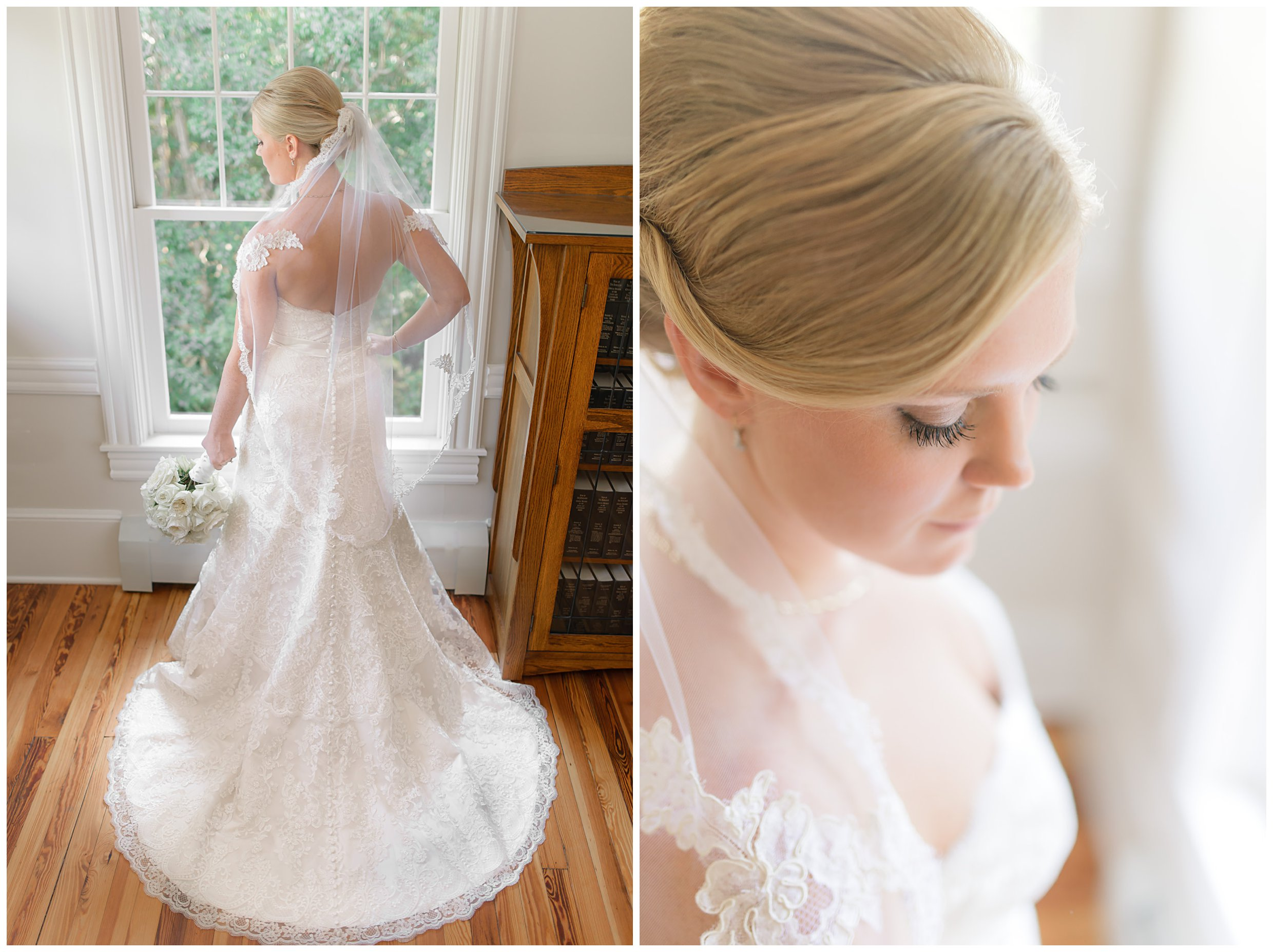 Getting ready details blush pink light green lace gown classic navy blue Charleston South Carolina Wedding Photograpgher Stephanie Kopf Photography eco wedding green environmentally friendly-281.jpg