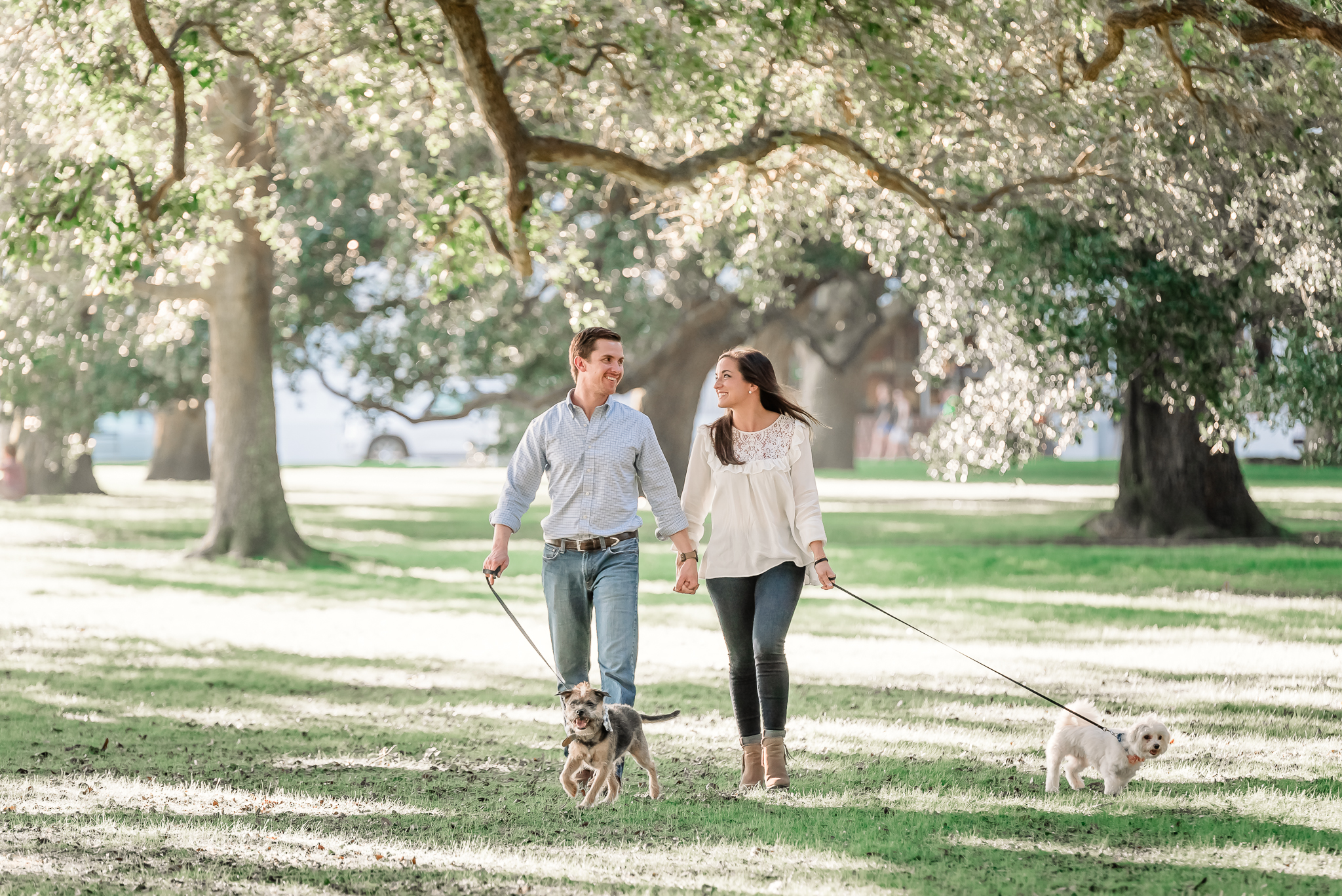 Engagement photos at White Point Garden, Laid back and sweet engagement photos with dogs, Downtown Charleston SC Engagement Photographer