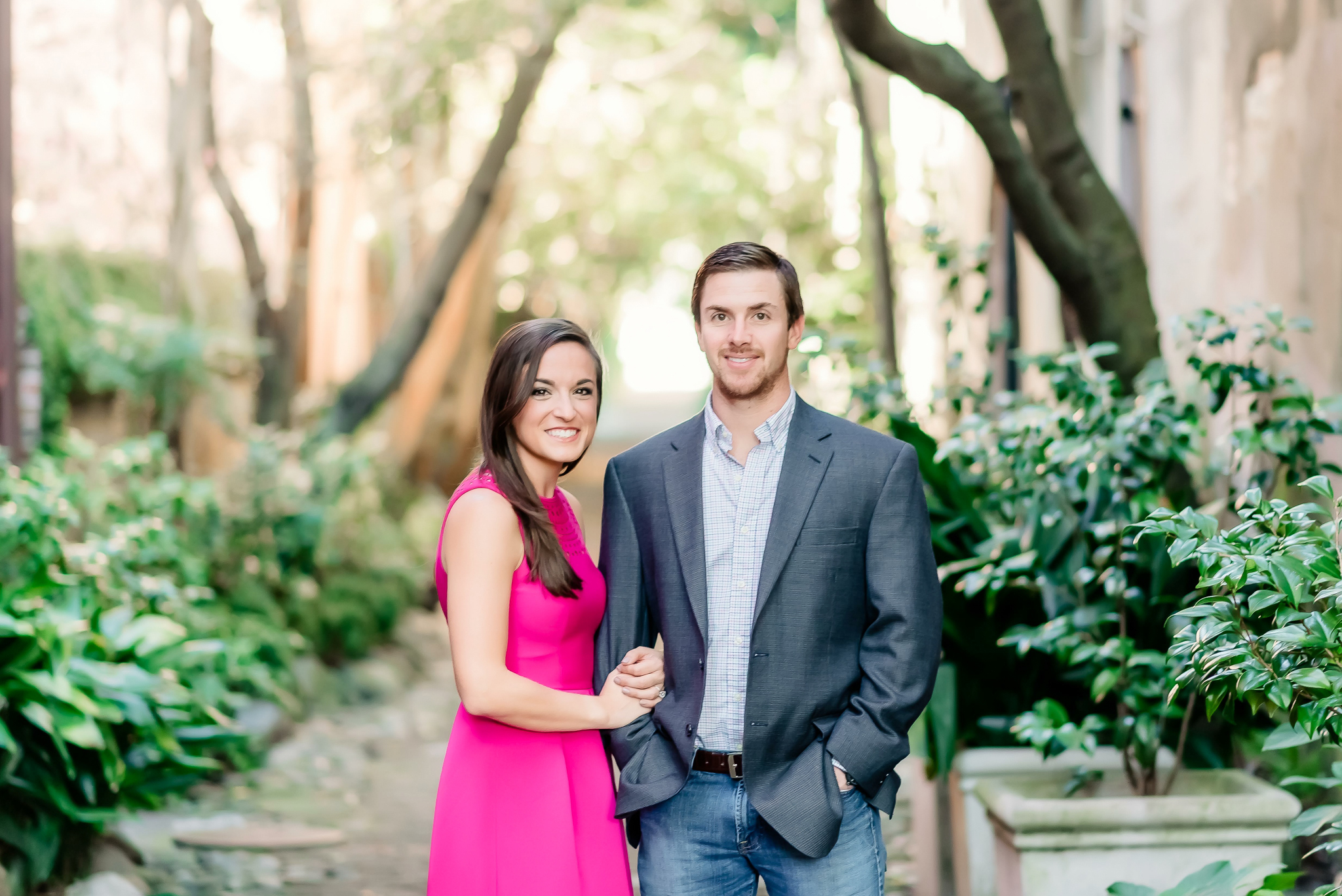 Stylish, romantic, natural and laid back Downtown Engagement Photography, Pink fuchsia dress portraits, Charleston SC engagement Photographer