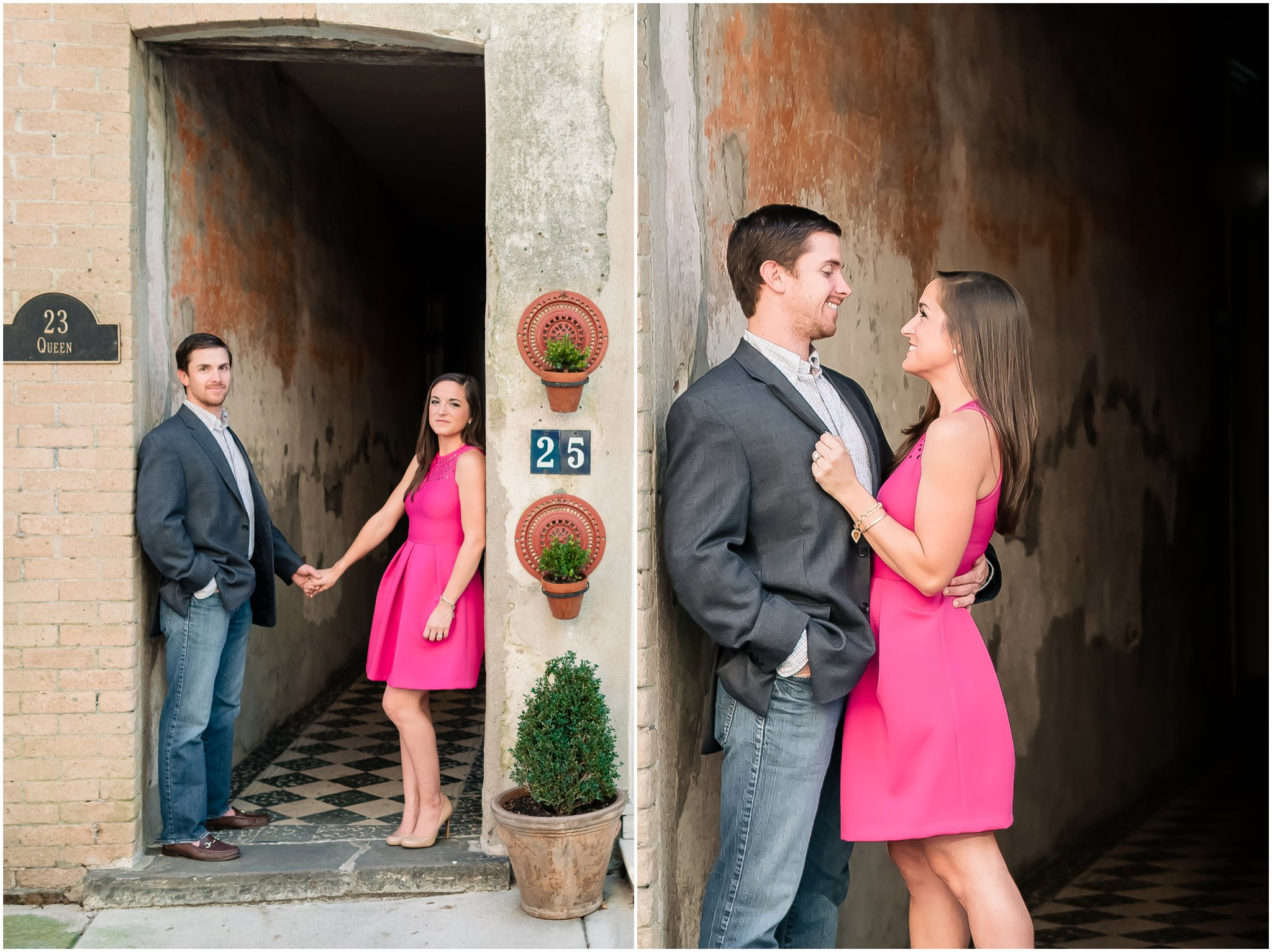 Stylish, romantic, natural and laid back Downtown Engagement Photography, Pink fuchsia dress portraits, Charleston SC engagement and wedding Photographer