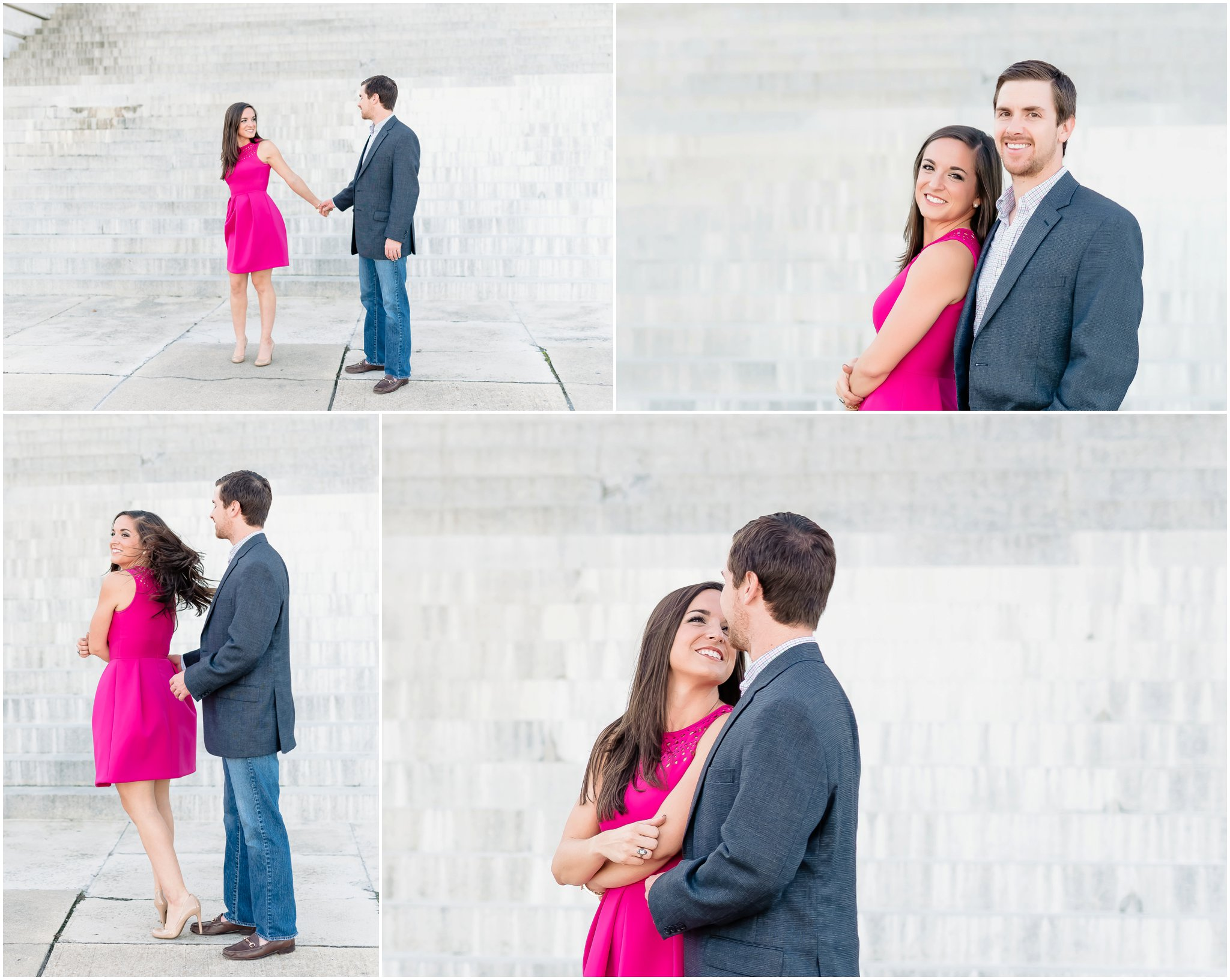 Natural, fun, silly downtown Engagement Photography, Pink fuchsia dress | Charleston SC Photographer