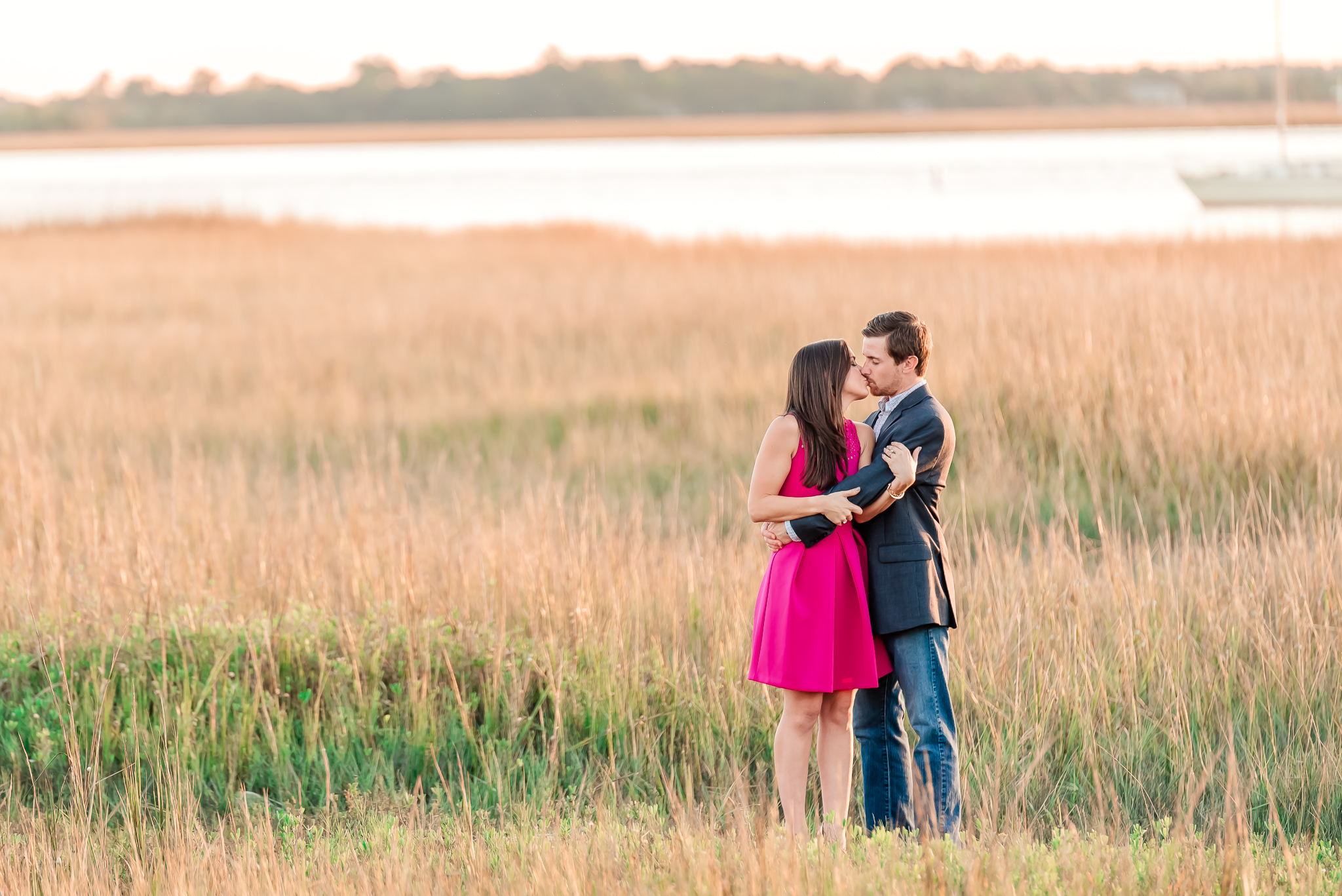 Natural, romantic sunset engagement portrait photography in South Carolina, Charleston SC wedding Photographer
