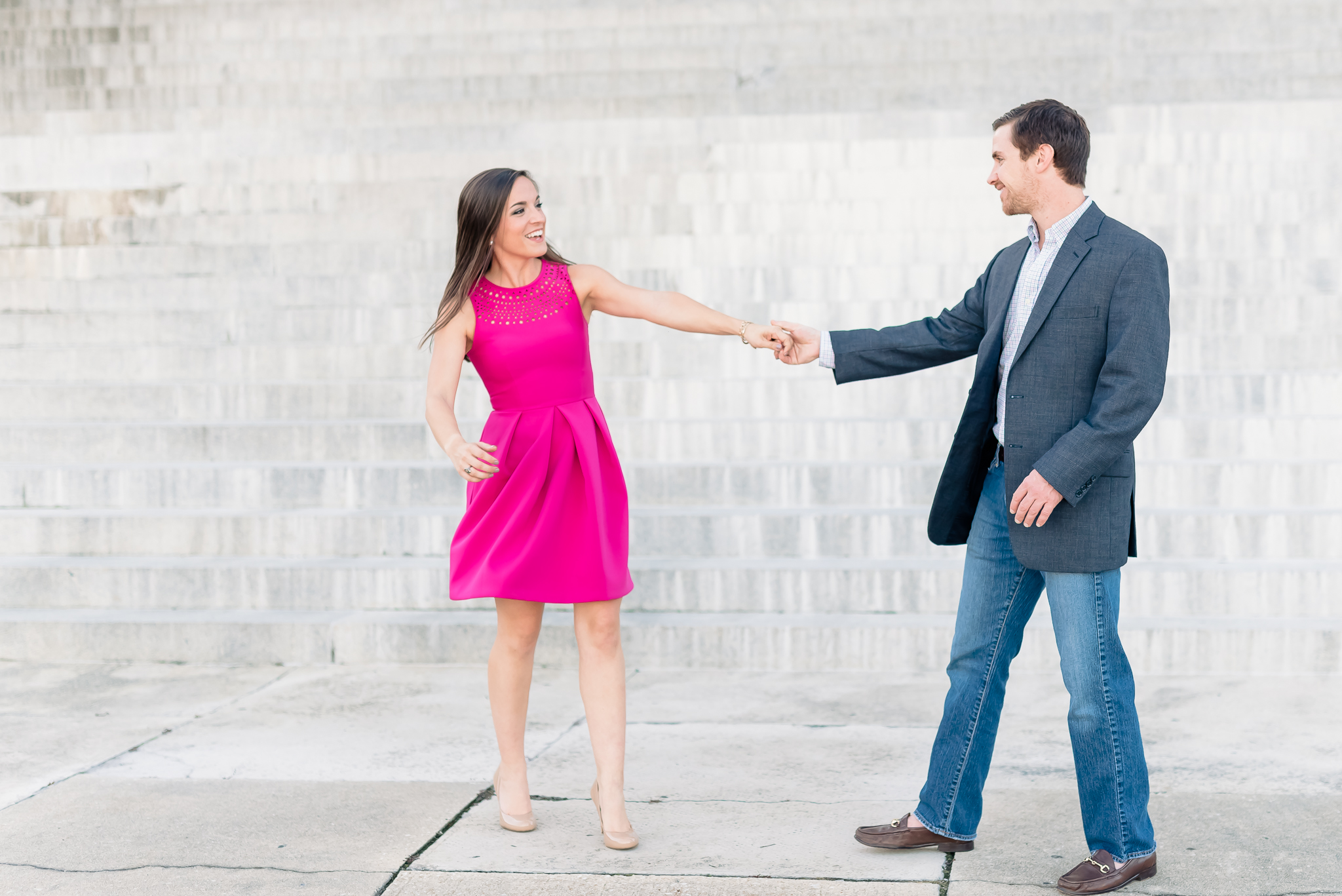 Natural, fun, silly downtown Engagement Photography, Pink fuchsia dress | Charleston SC wedding Photographer