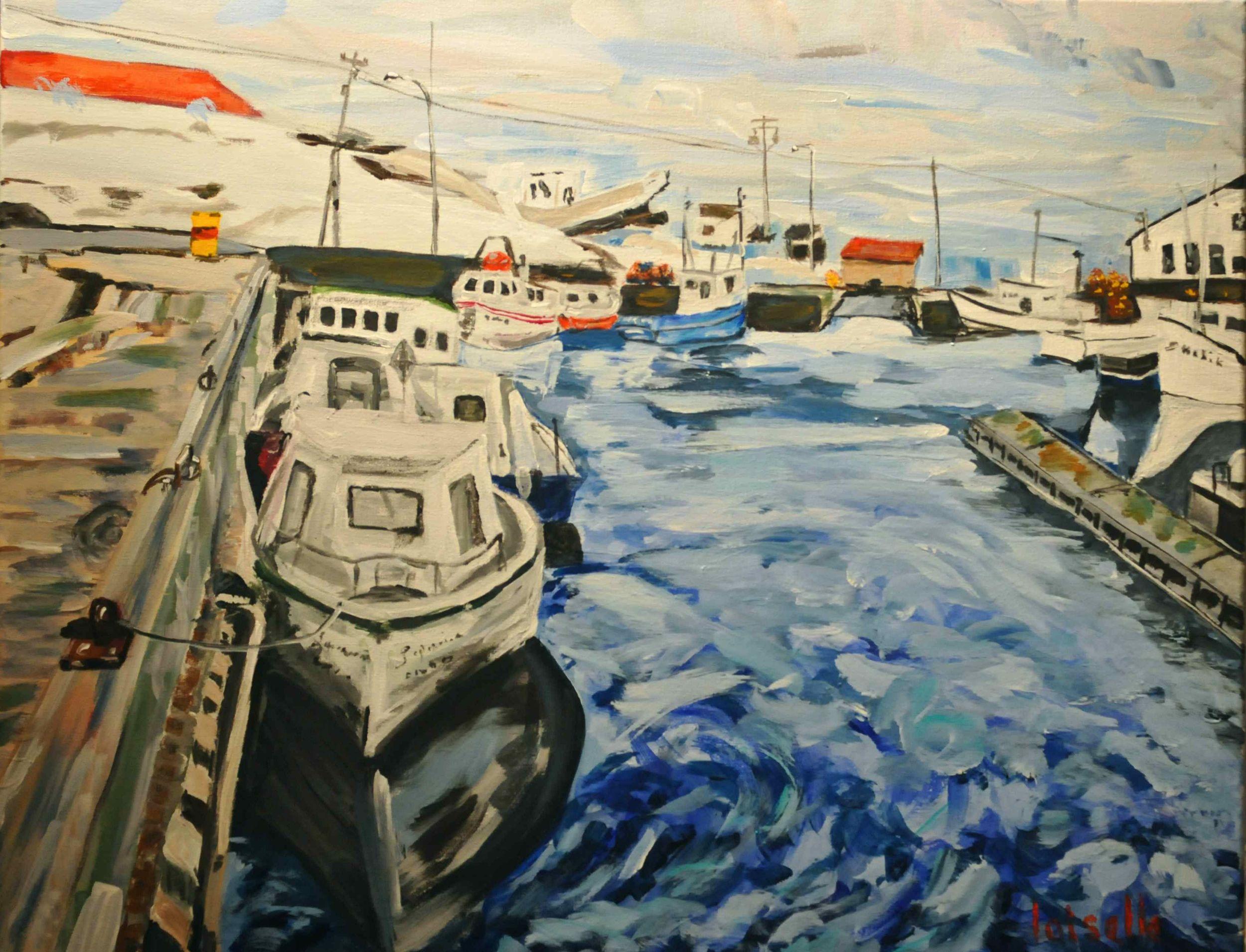 Port de Ste-Thérèse-de-Gaspé   Acrylique sur toile  22 po x 28 po   VENDUE
