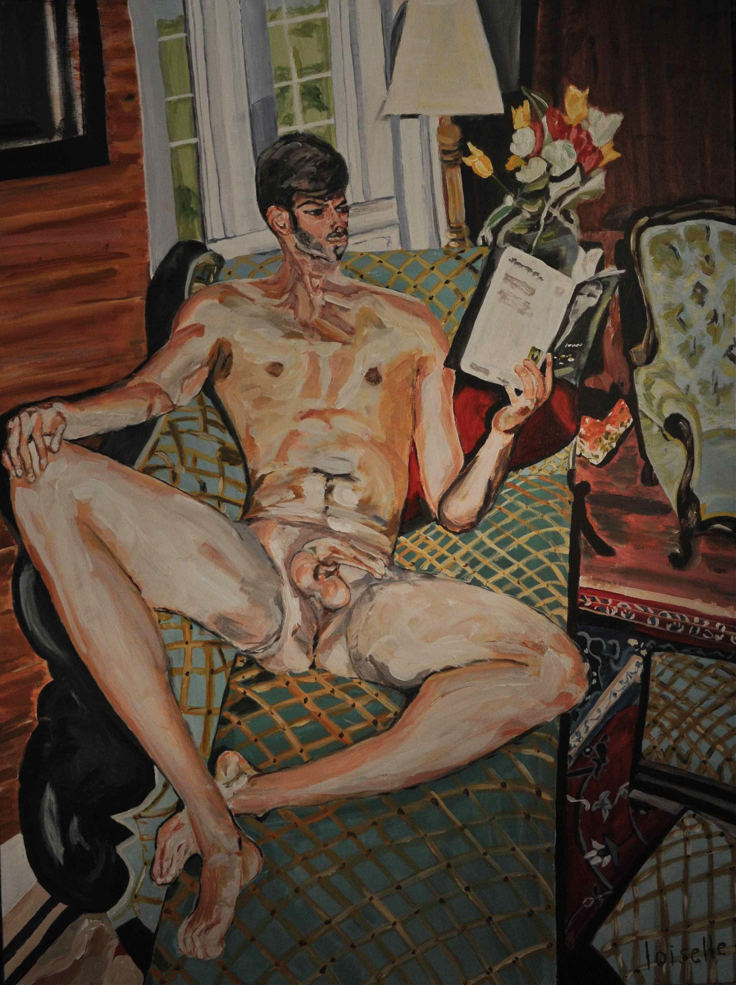 Nu au livre   Acrylique sur toile  36 po x 48 po