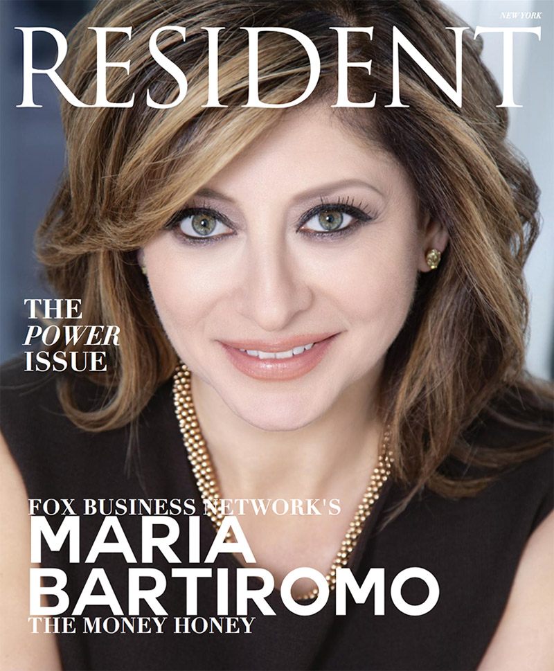 """We are excited to see Maria Bartiromo on the Cover of Resident Magazine wearing our Dark Brown Italian Double Wool sleeveless sheath! Resident Magazine entitled it's February issue """"The Power Issue!"""" Maria, always stylish and beautiful, chose Karen Roberts New York for her cover shot and feature article intro photo.. Thank you Maria and Resident Magazine! You look Fabulous!"""
