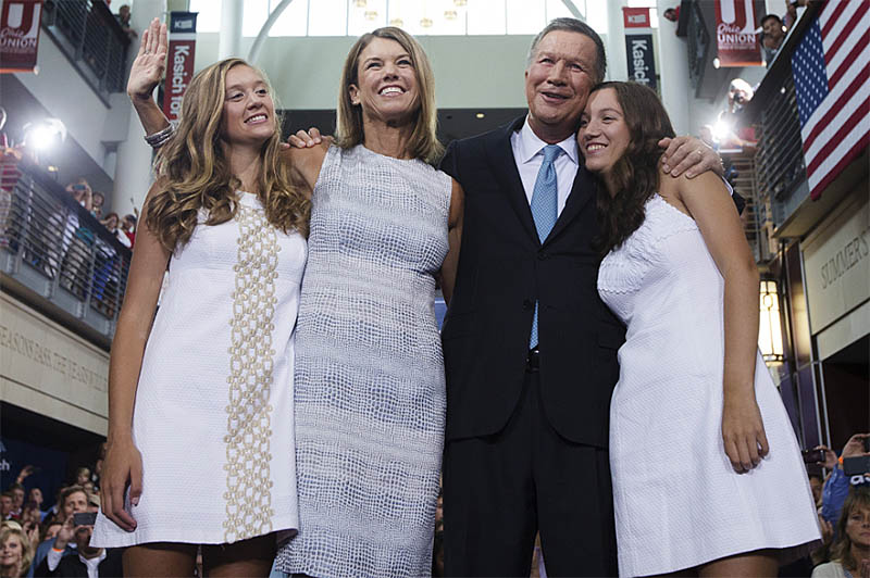 Karen Kasich, my 7th client, wearing a dress she purchased for her husband's presidential bid announcement.