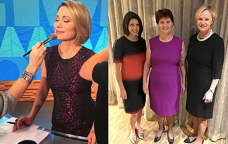 Left: ABC News' and Good Morning America's Amy Robach. Right: Anne Holton (center) wife of Tim Kaine, Democratic candidate for Vice President, and former Secretary of Education for the State of Virginia with Karen Roberts (right) and Kathlin Argiro (left) Fashion Industry Consultant all wearing Karen Roberts New York