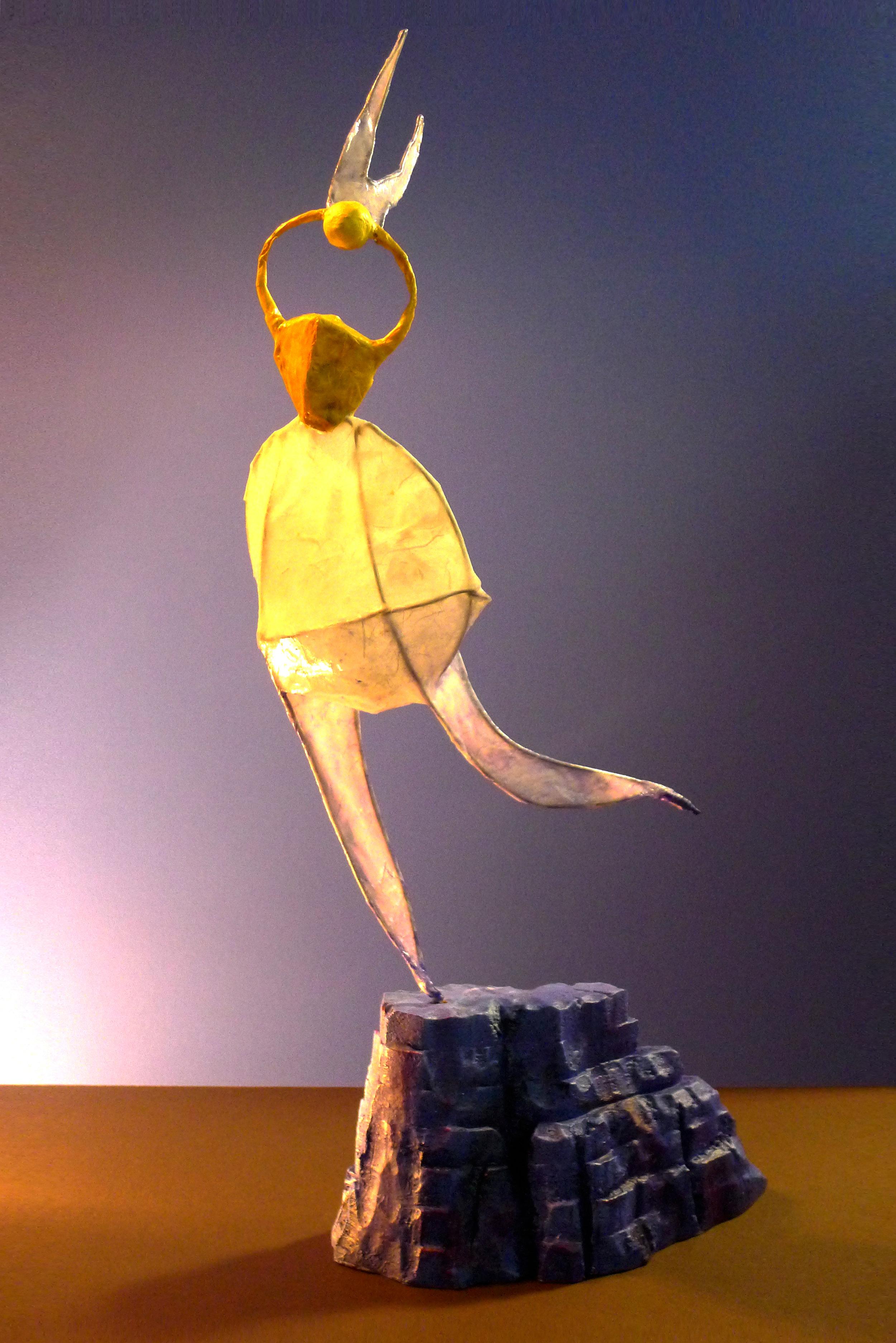 """""""Blue Mesa Leap"""" Mixed media sculpture"""