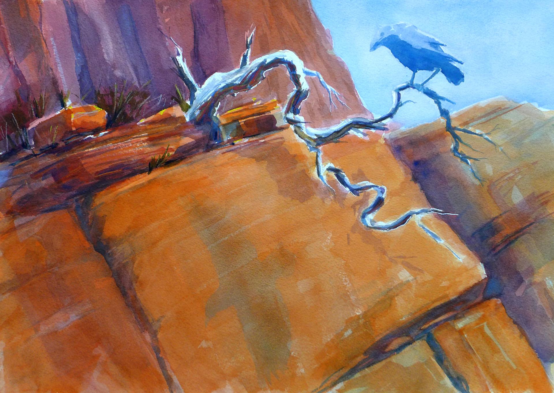 """""""Raven's Dream: Watercolor 14x20"""""""