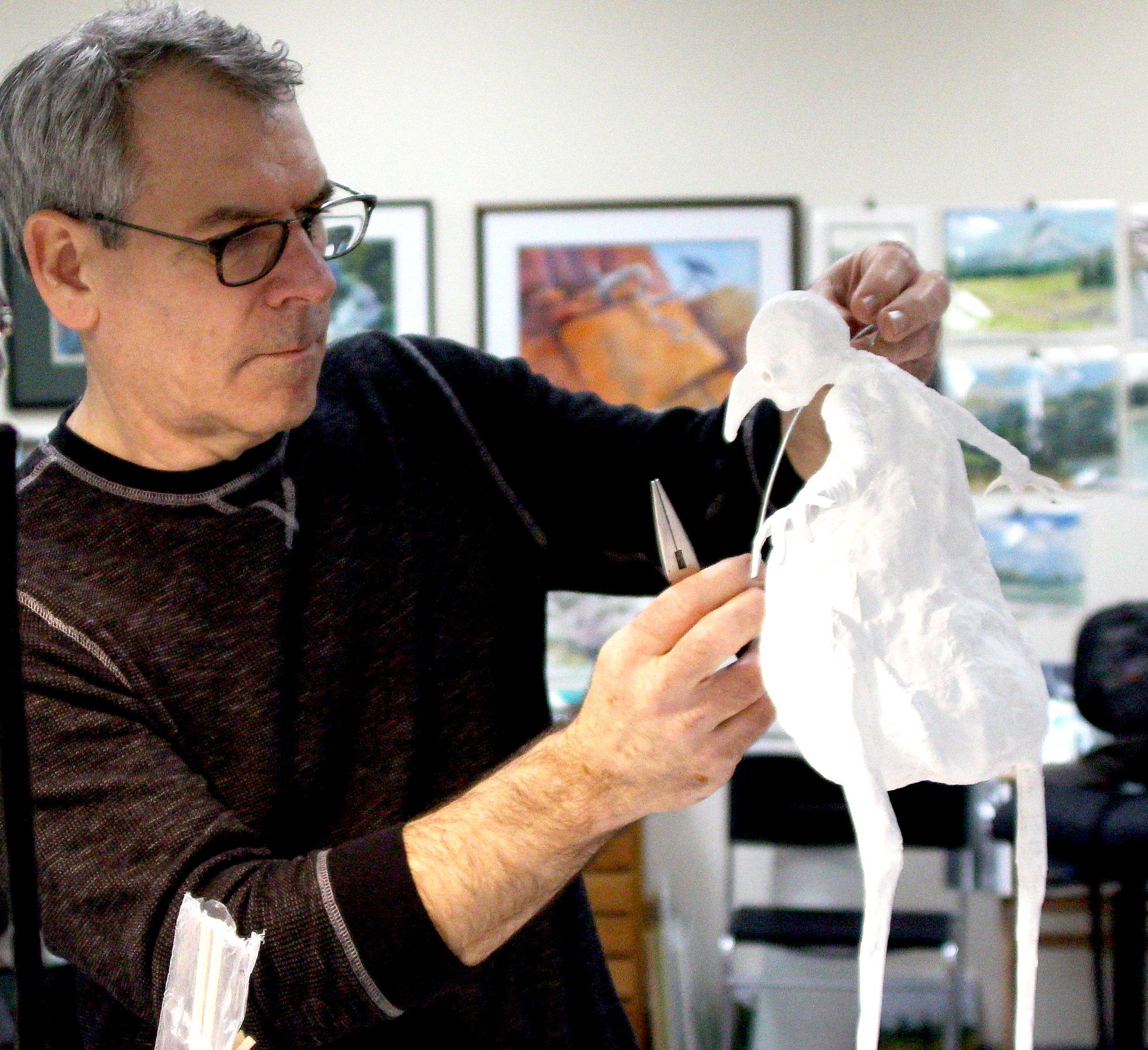 """Bird Man"" mixed media sculpture under construction"