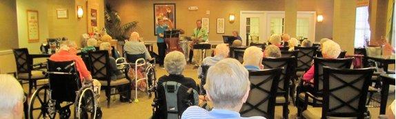 Residents at Rosewood Village/Greenbrier enjoy the Victor Lee Quartet.