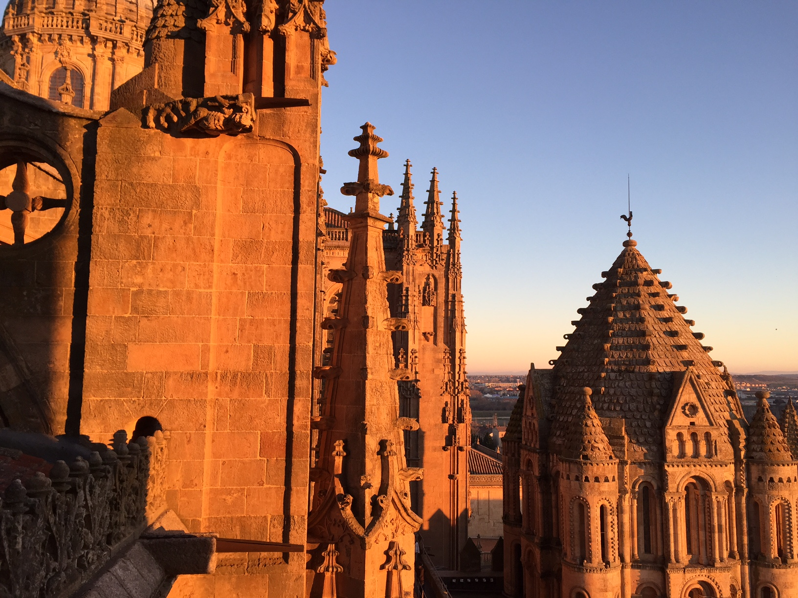 Roofscape of Cathedral Vieja at sunset, Salamanca