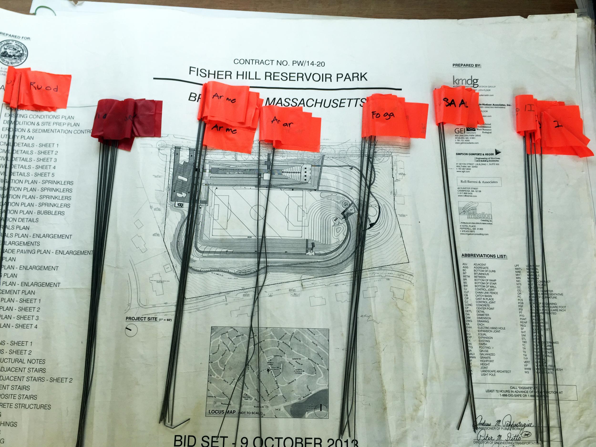 Organizing plant tags.
