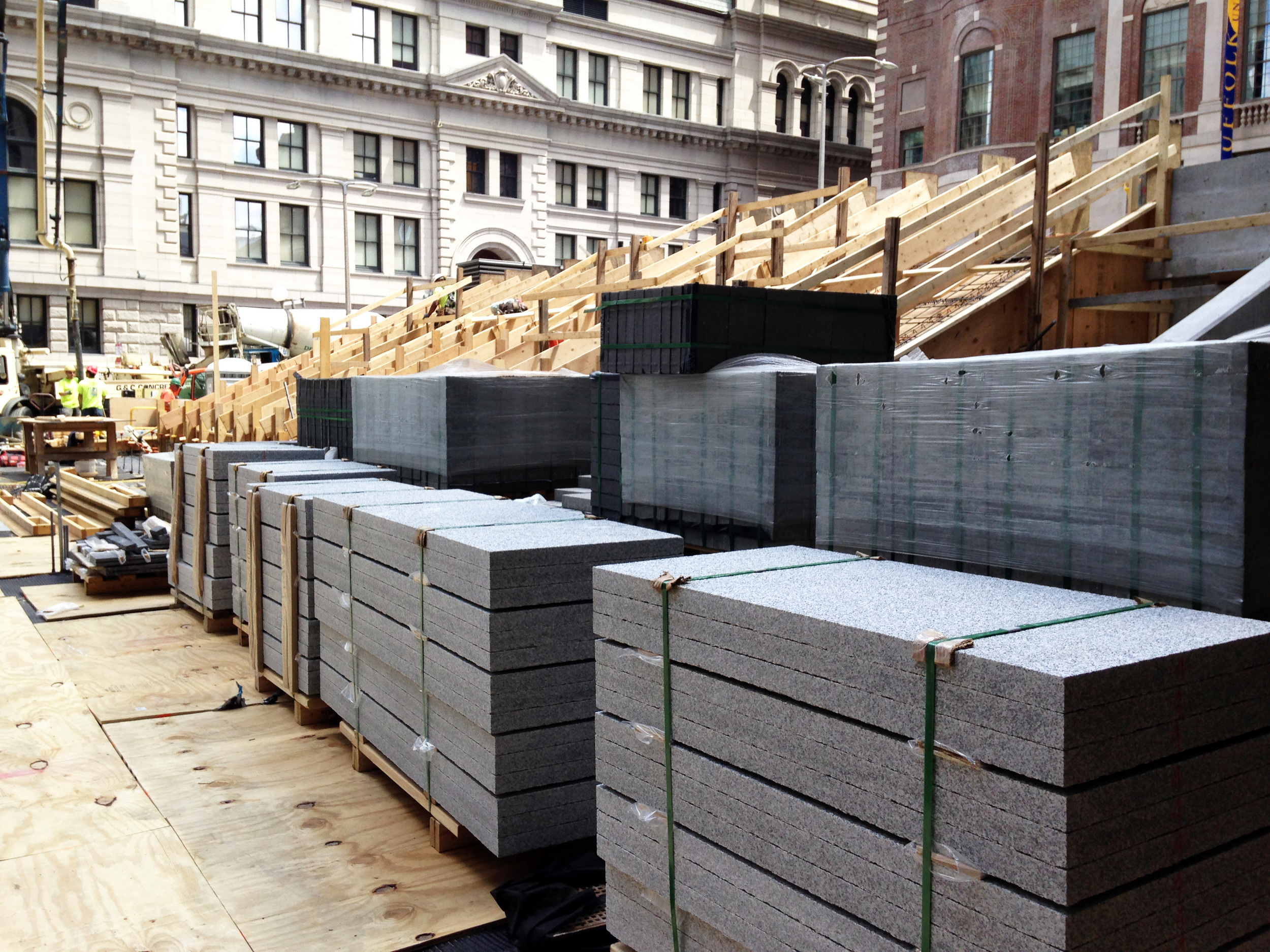 Granite, stacked and ready for installation