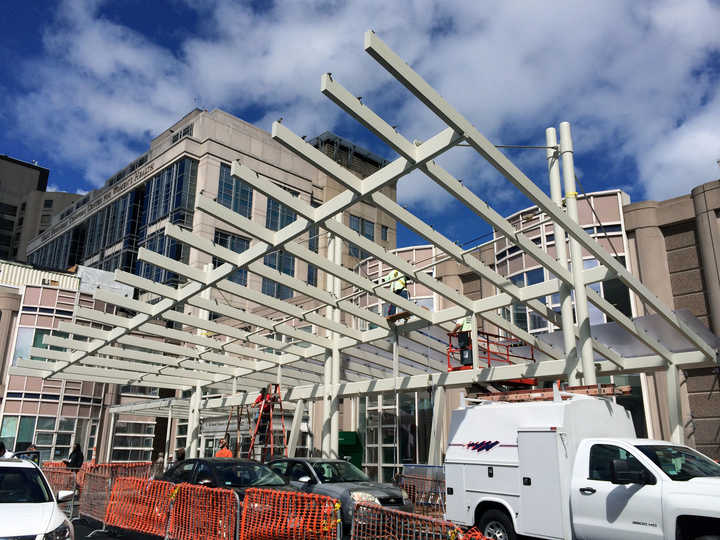 New entry canopy before the polycarbonate panels are installed