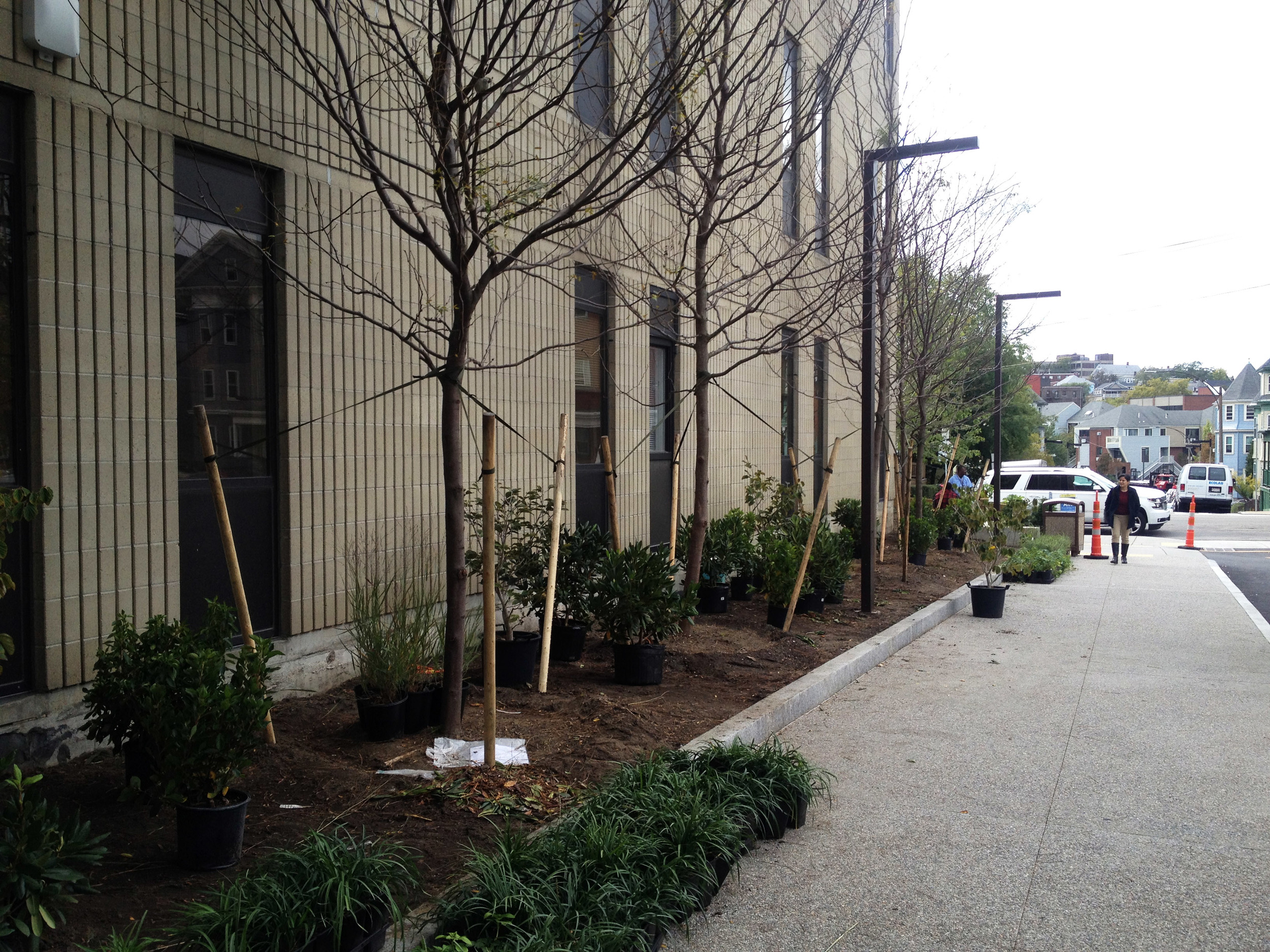 New planting bed and exposed aggregate sidewalk