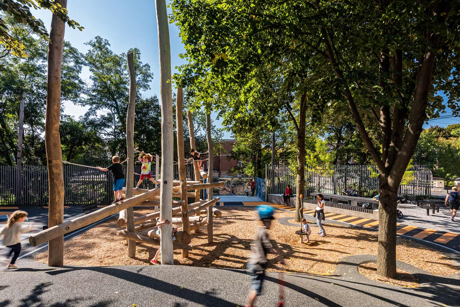 """- """"What a great redesign of an urban outdoor space. It is a lot of program in a small space, but the way the path weaves through the spaces it feels very connected."""" - BSLA Jury"""