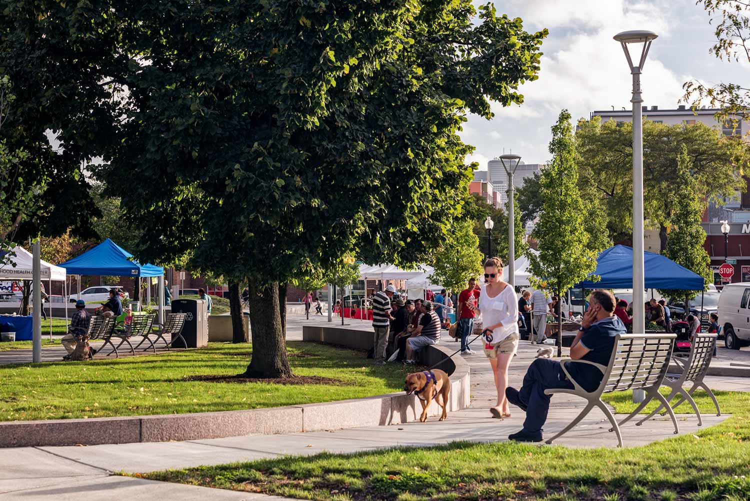 """- """"The design thoughtfully enhances public life in East Boston by creating a multi-functional park that both embraces history and looks to the future through vibrant social spaces and sustainable strategies."""" - BSLA Jury"""