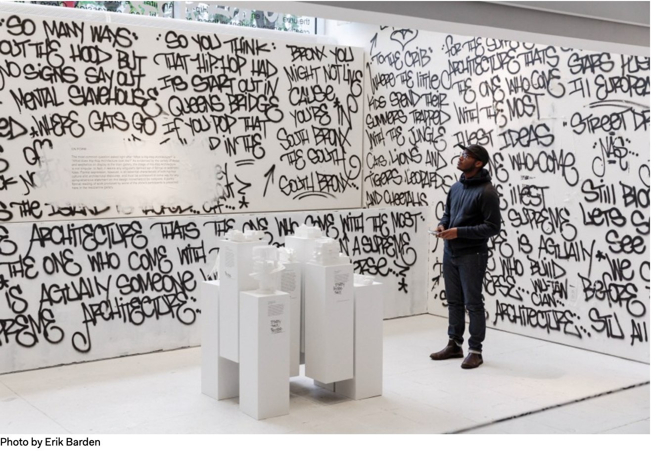 """A new exhibit, """"Close to the Edge: The Birth of Hip-Hop Architecture"""" is on view at the Center for Architecture in New York until Jan. 12."""