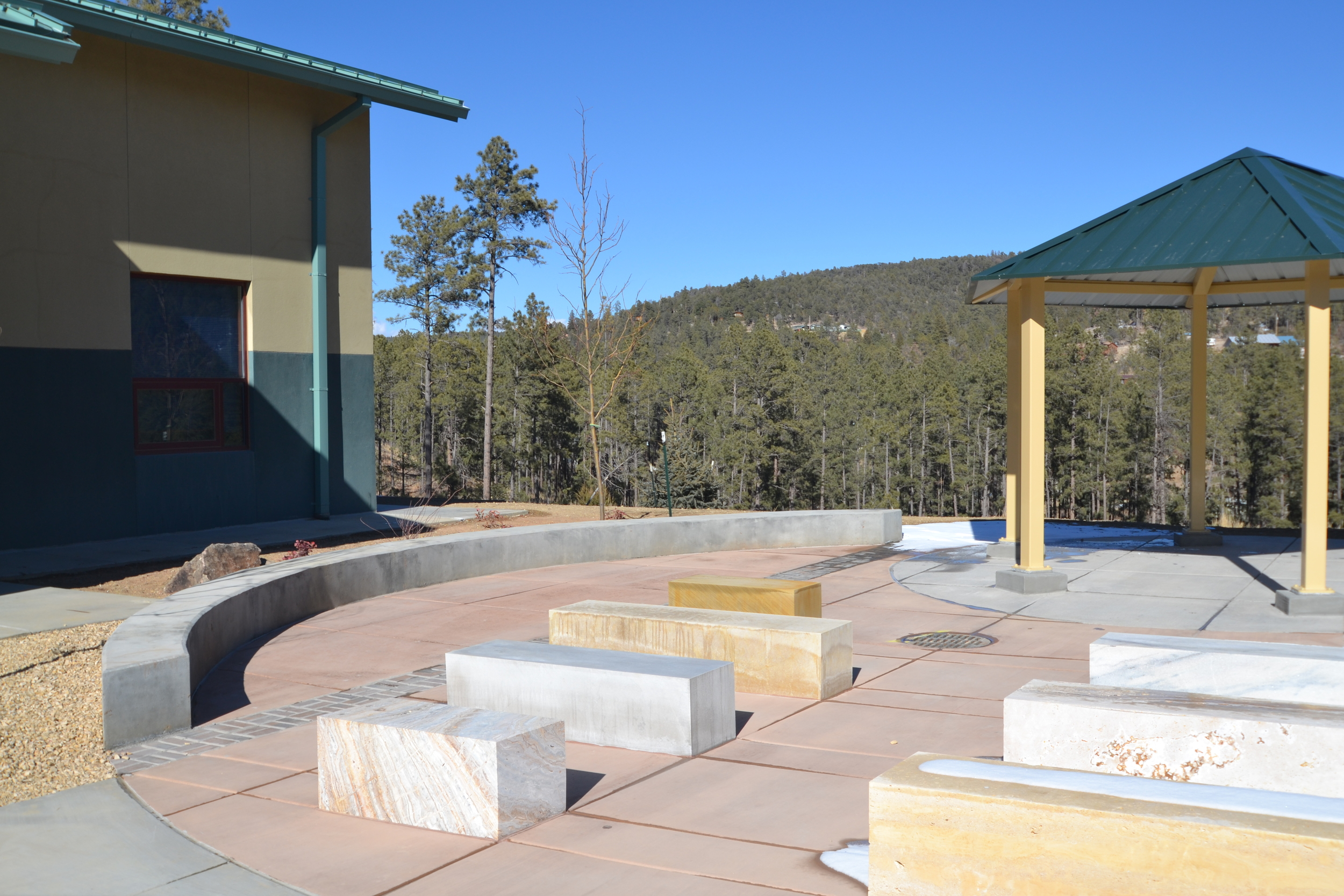 Outdoor seating plaza with pavilion