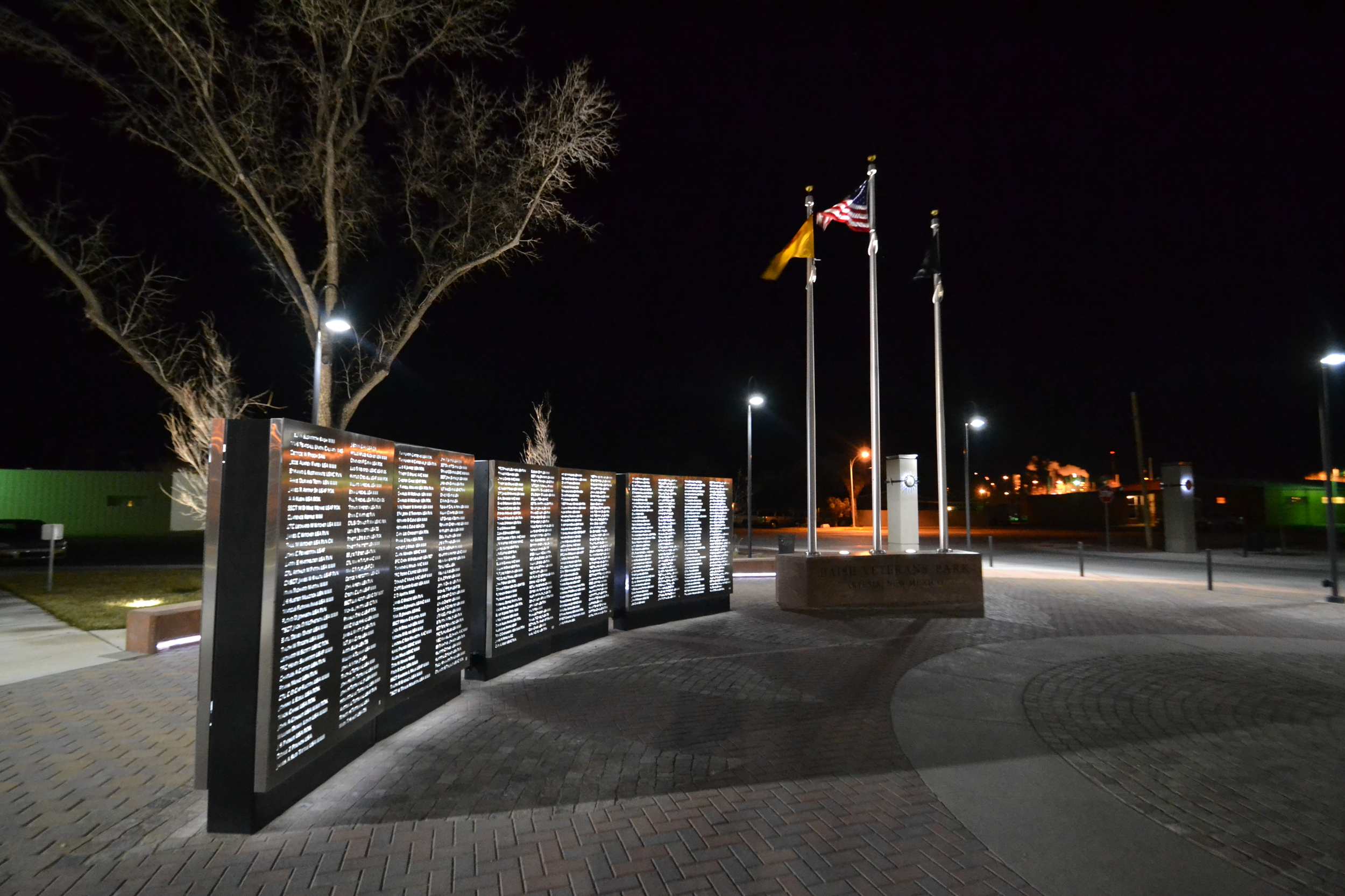 The remembrance wall at night
