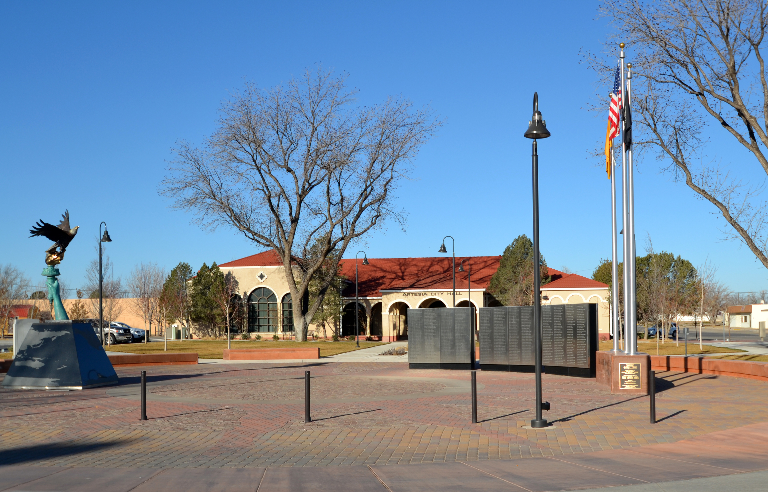 Memorial plaza with public art