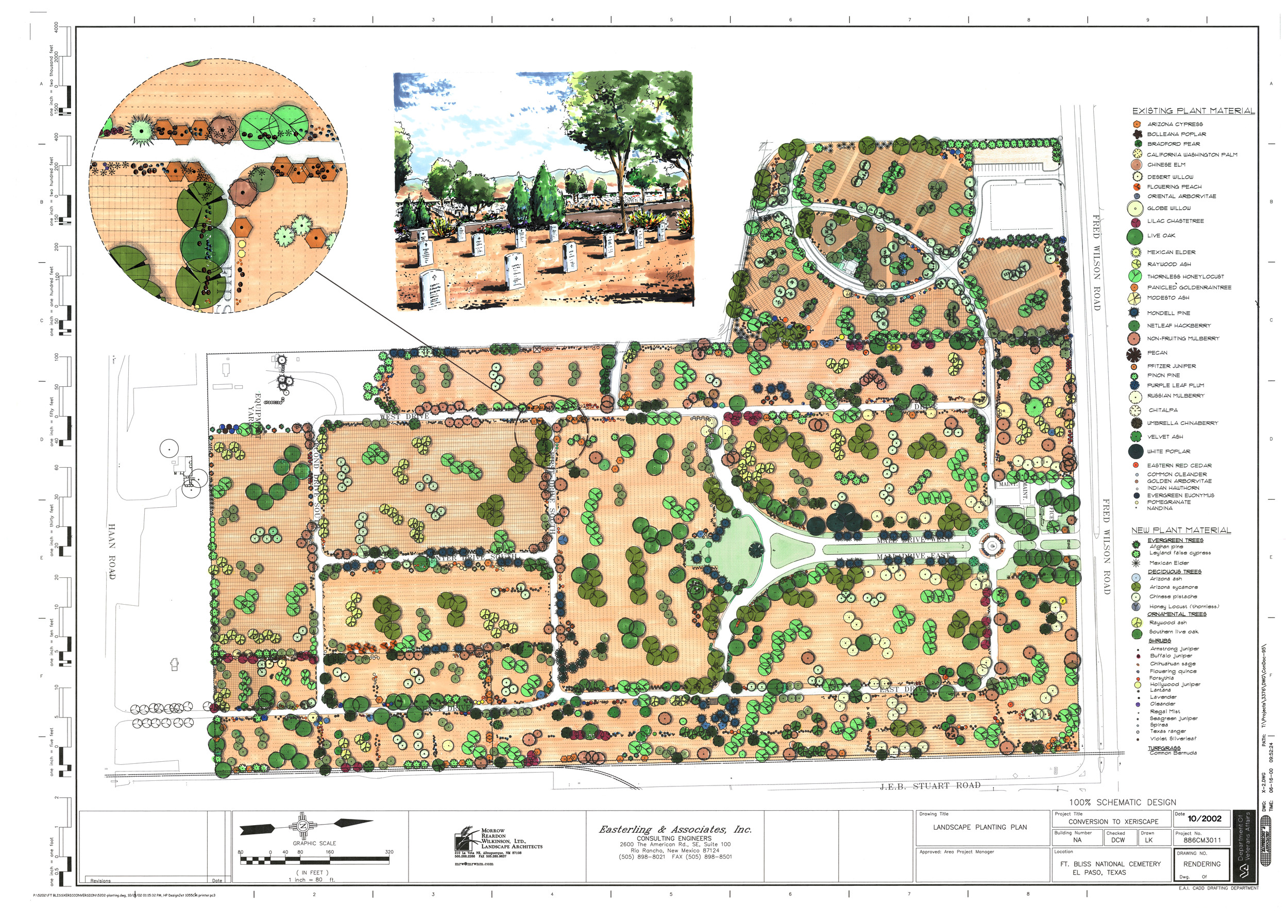 Fort Bliss National Cemetery - Site Design drawing