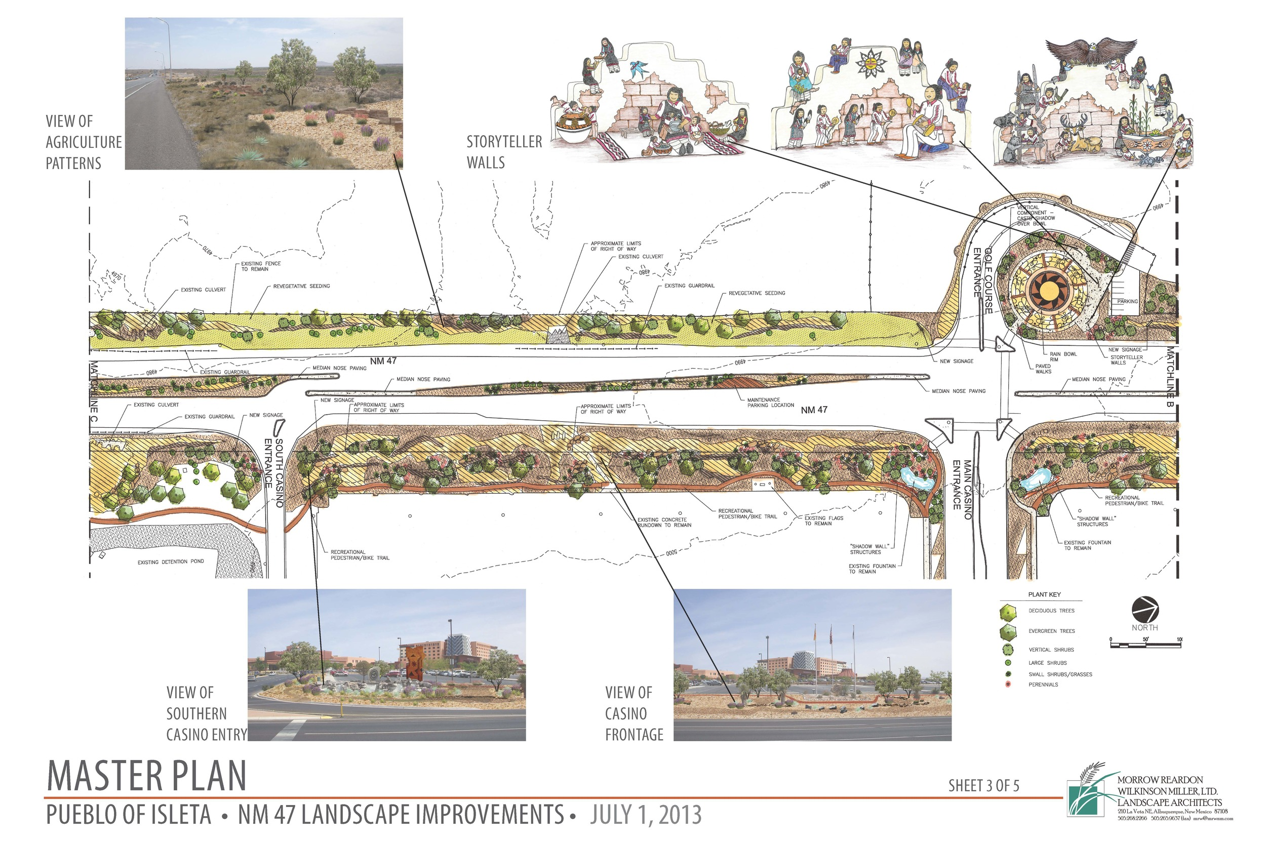 Artwork and plantings at Isleta Pueblo highway streetscape improvements