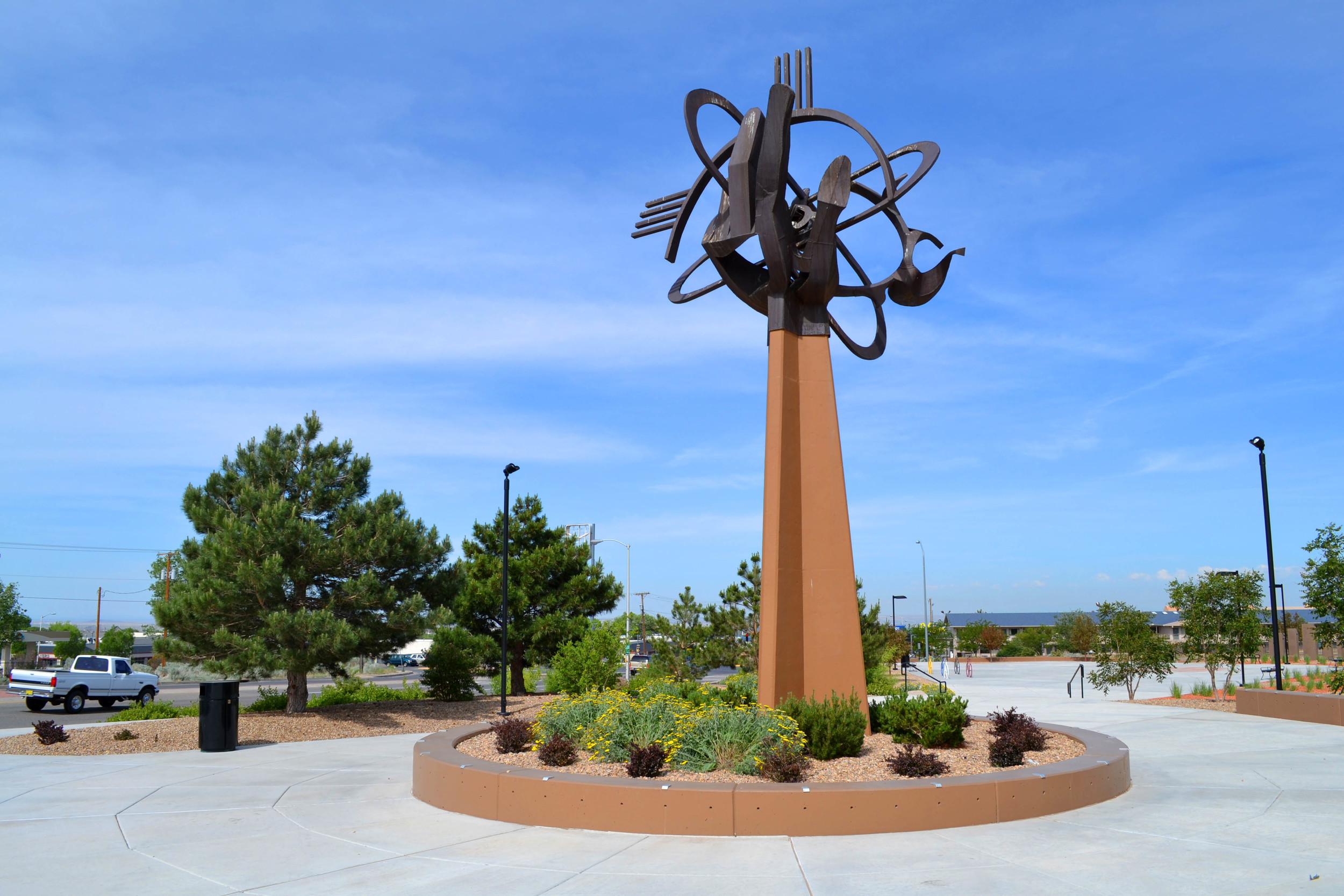 One of Albuquerque's many public art pieces enlivens the park