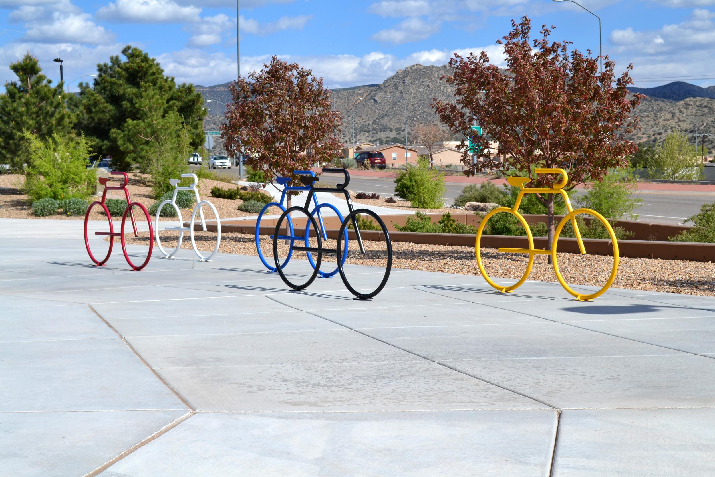 A peloton of bicycle racks