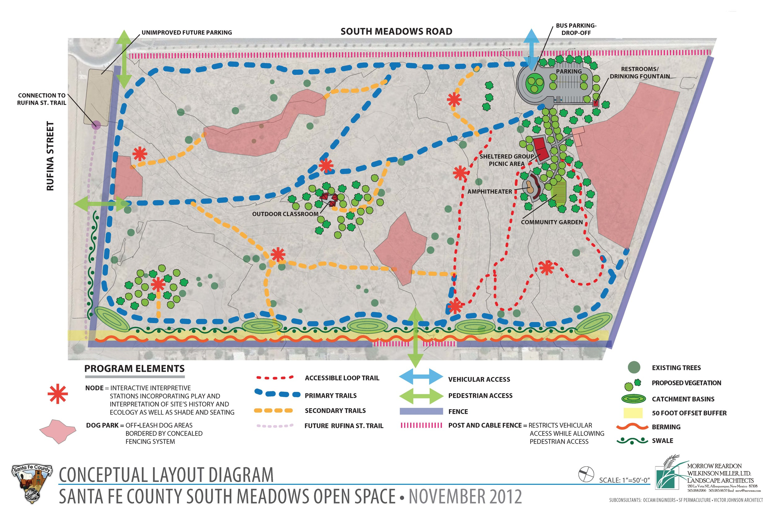 Circulation and organization of program elements for South Meadows Open Space