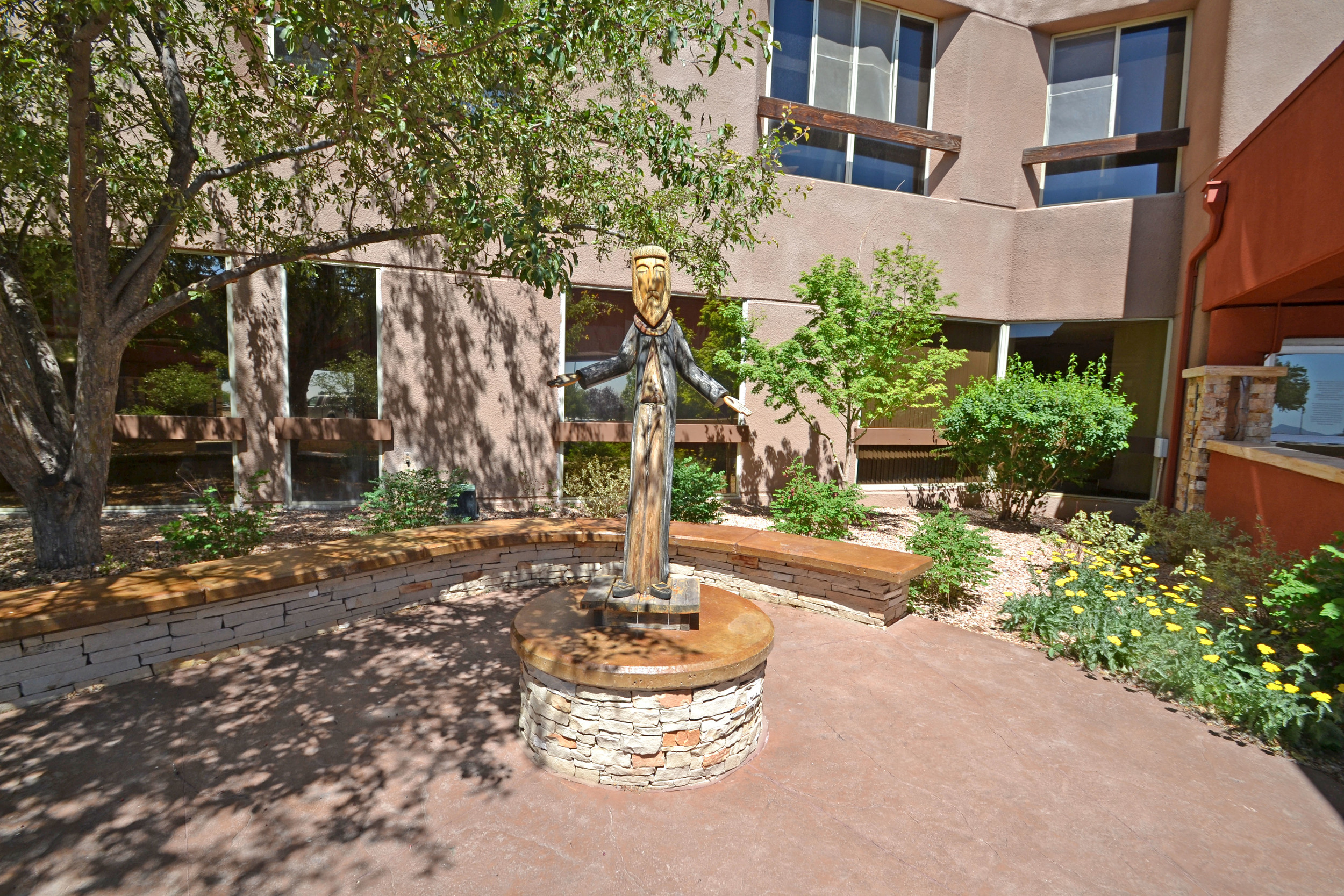 Sculpture is integrated into the courtyards