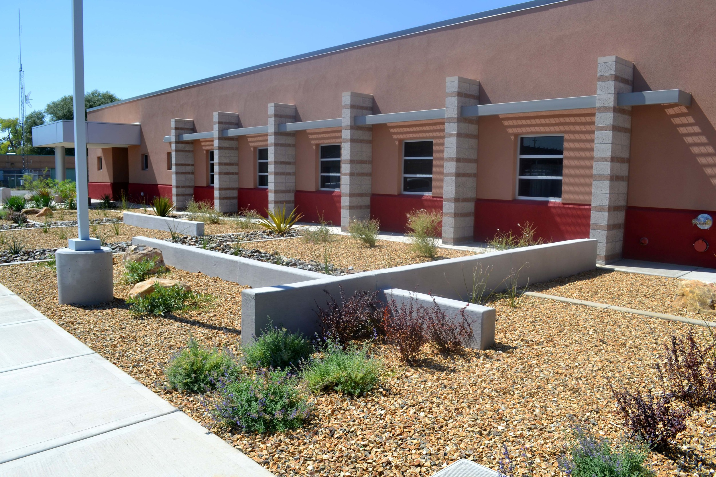 Clean modernist lines at healthcare facility garden