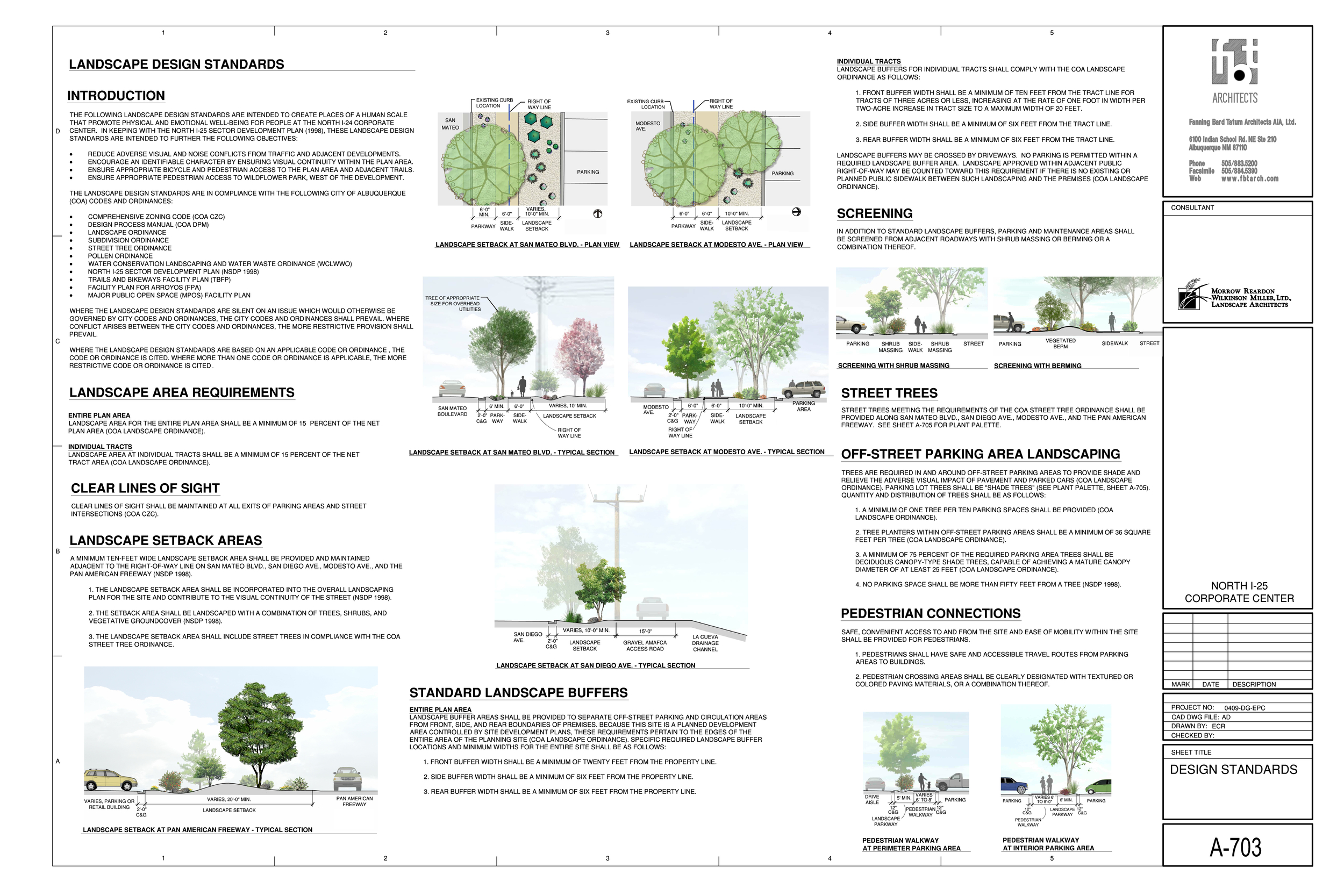 Design standards for landscape at corporate center