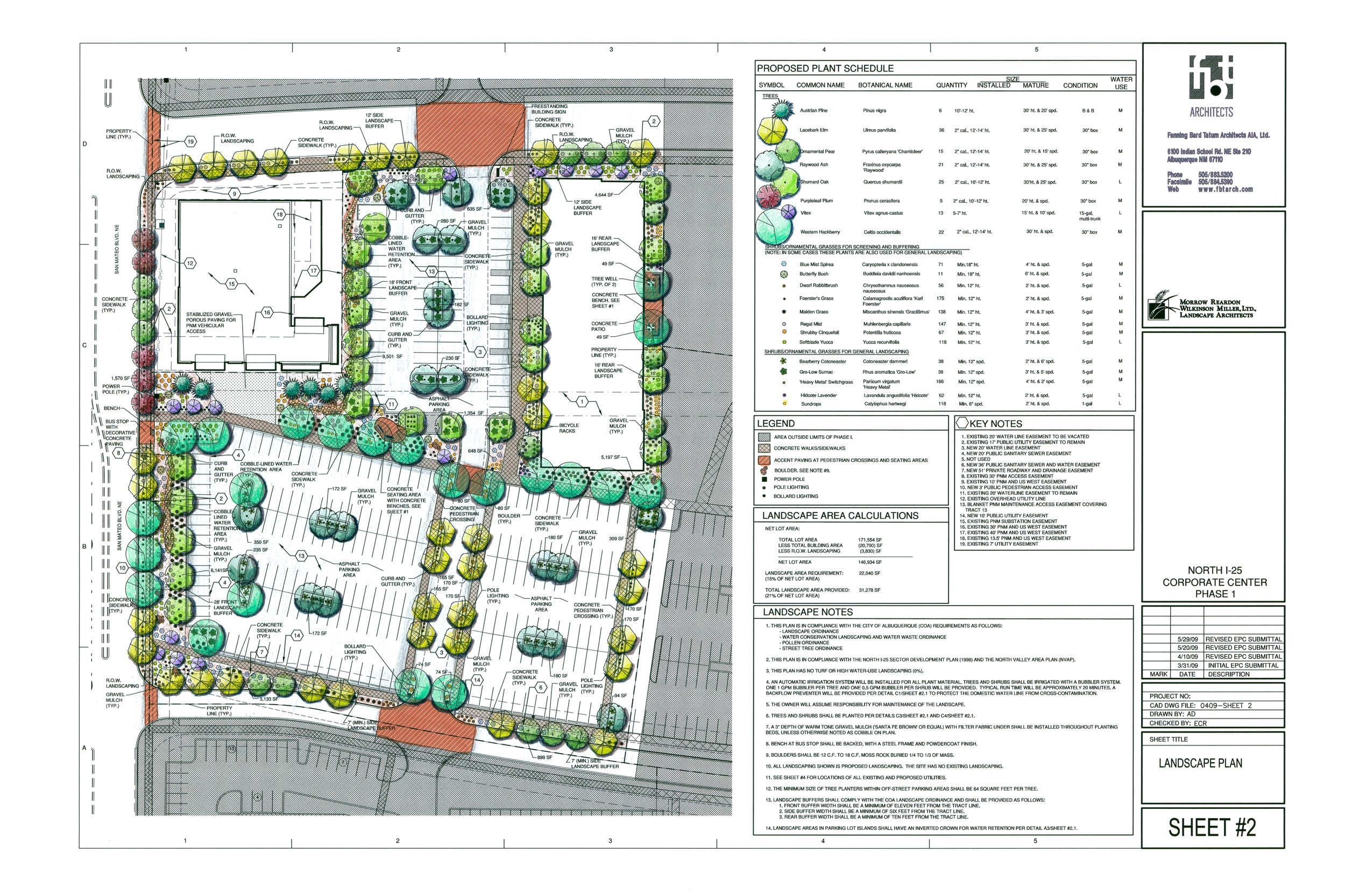 Detail planting plan for parking lot