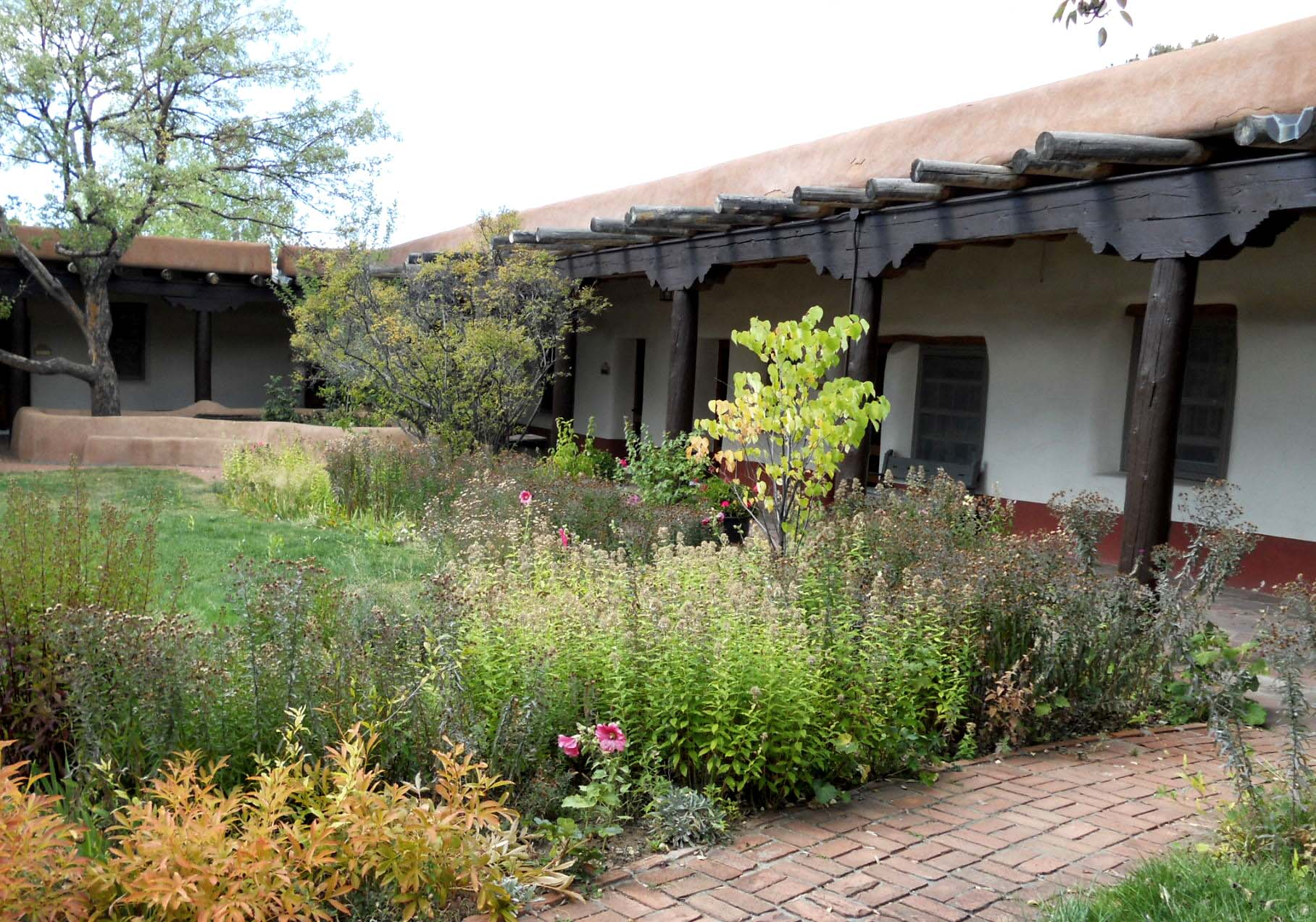 Lush plantings in the Old Santa Fe Trail building follow the historic planting designs