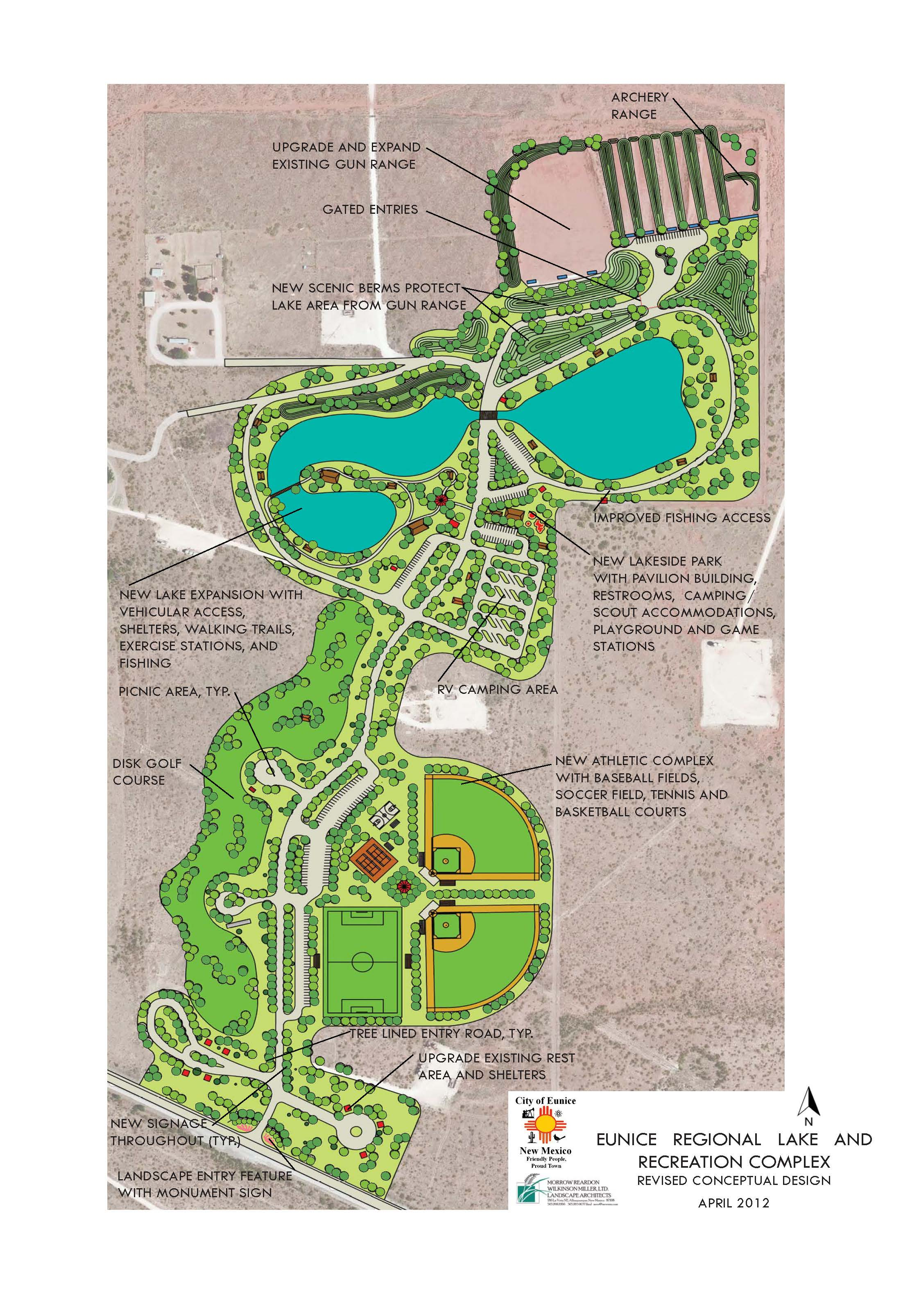 Eunice Regional Lake Recreation Complex - schematic design drawing