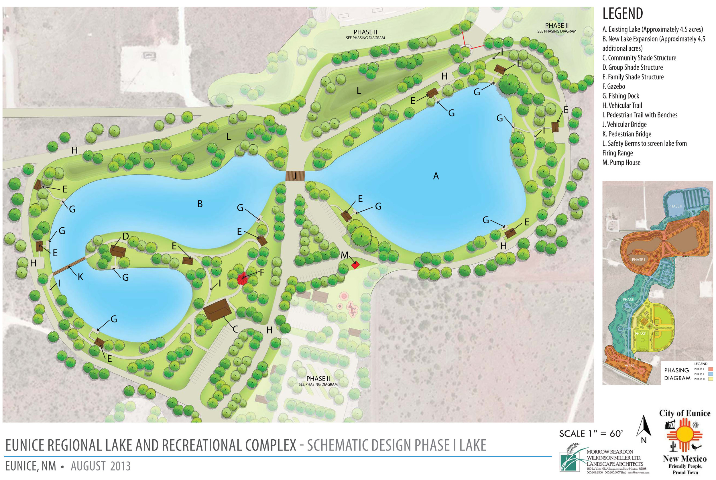 Eunice Regional Lake Recreation Complex Schematic Design for Lake Area