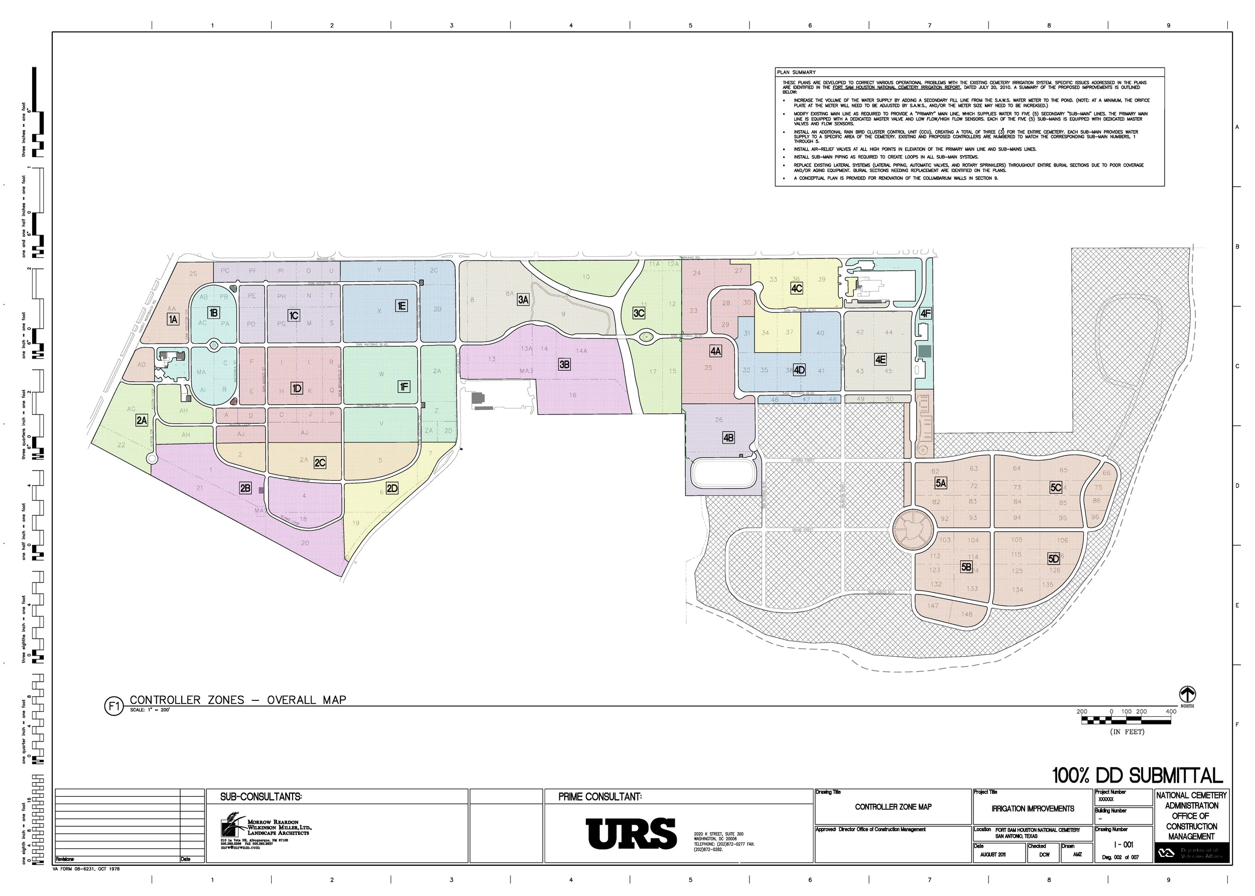 Irrigation controller zoning plan for cemetery