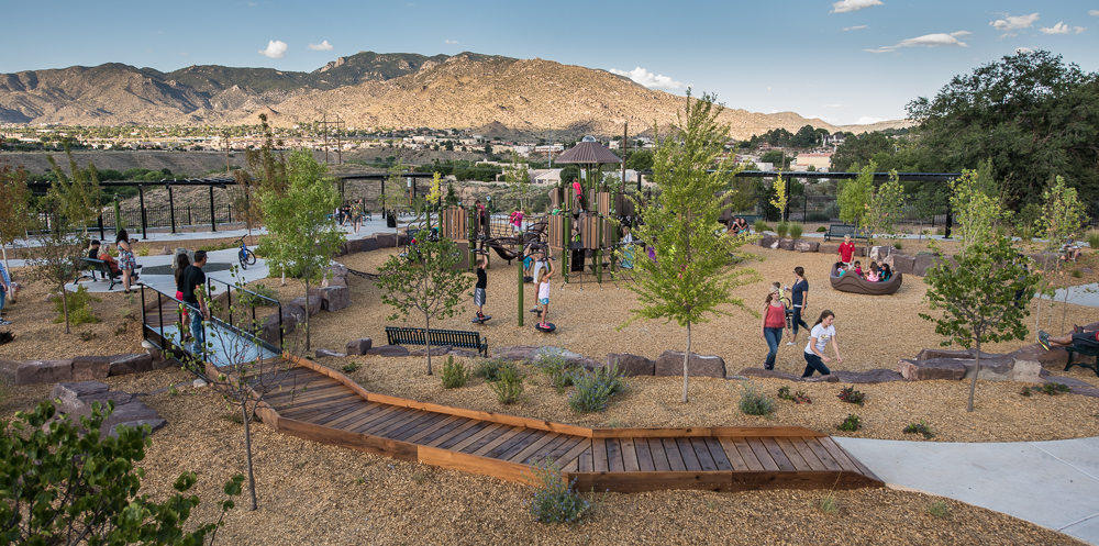 4 Four Hills Village Park, Albuquerque NM - view of Sandia Mountains, and no turf in park!