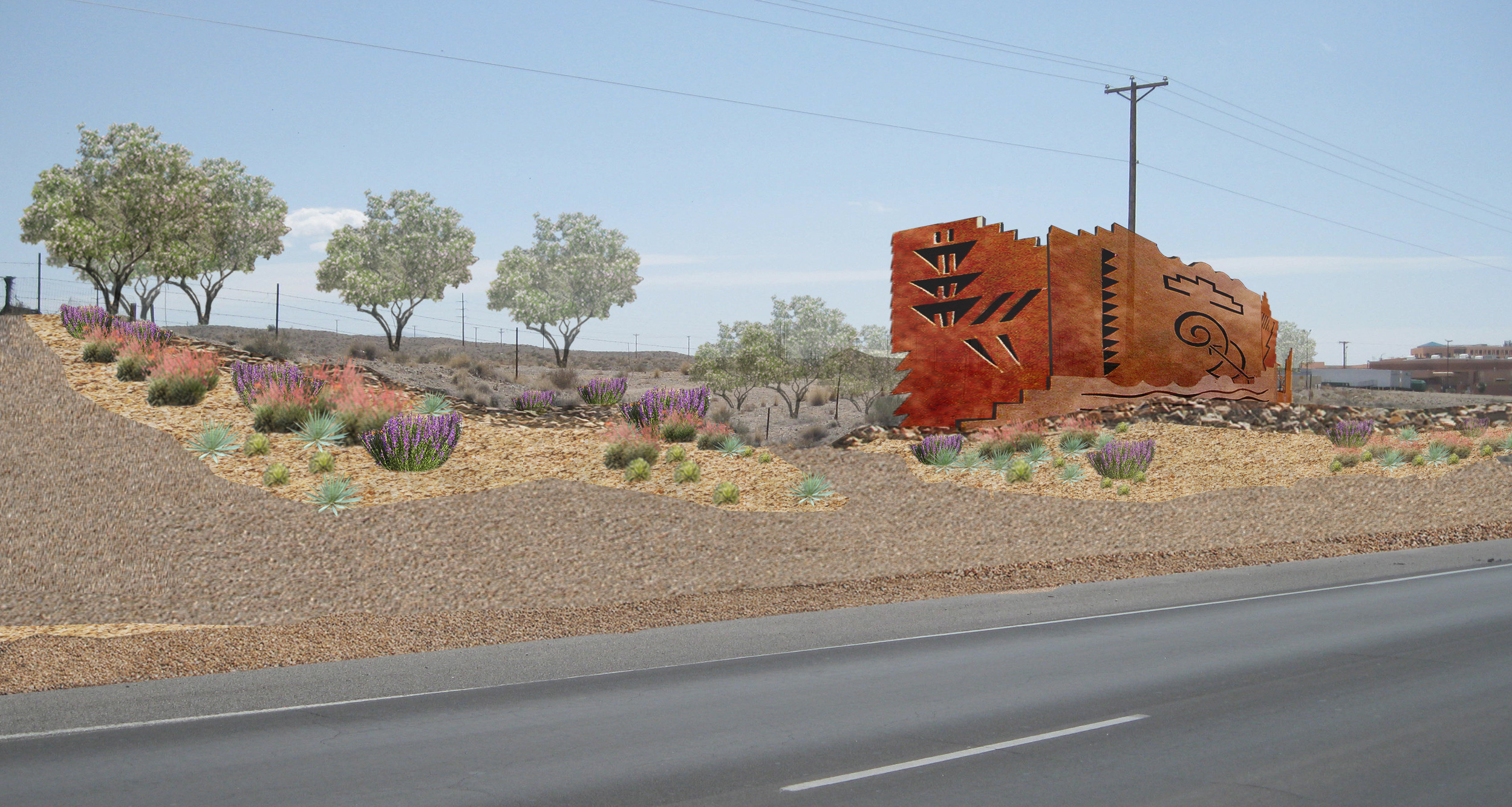 Visualization of art work and planting at Pueblo of Isleta highway streetscape design