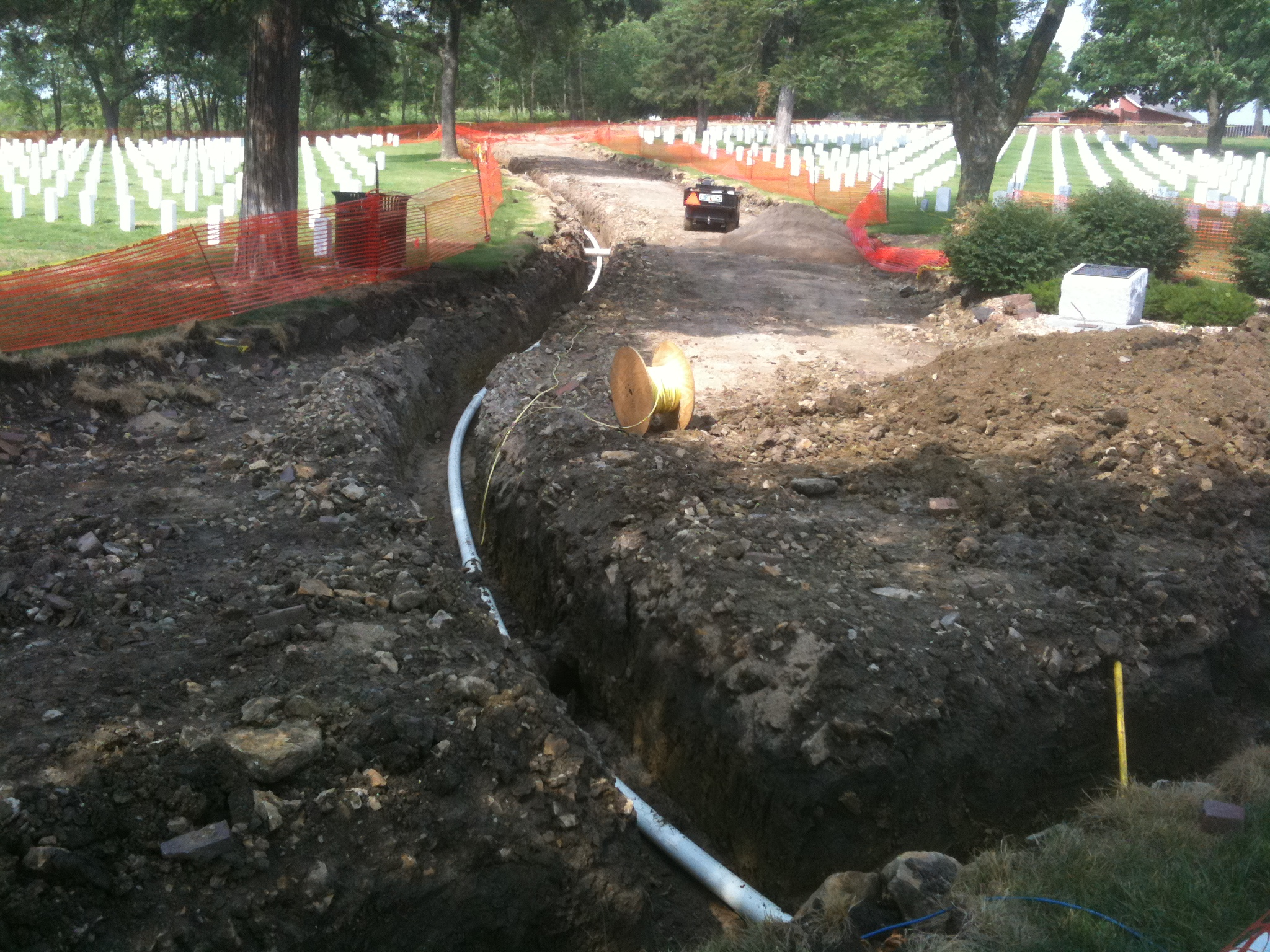 Placing new irrigation piping