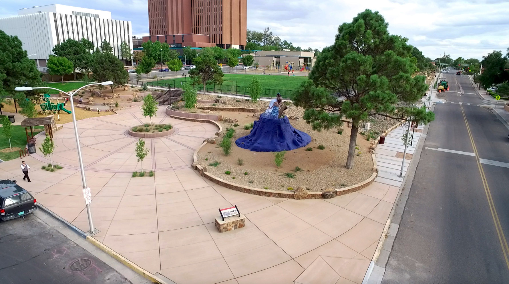 Overview of Martineztown Park, with 'Southwest Pieta' by Luis Jimenez (http://www.cabq.gov/publicart/)