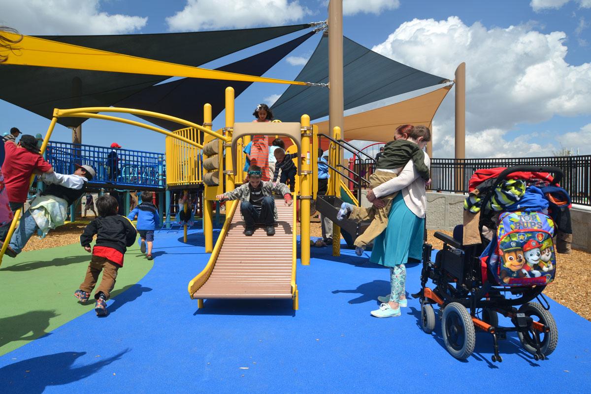 Roller slide for sensory stimulation