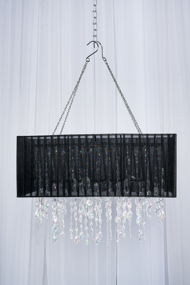 RECTANGLE BLACK MESH CRYSTAL BEADED CHANDELIER