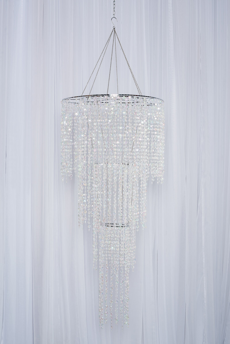 ROUND 3-TIER CRYSAL CHANDELIER